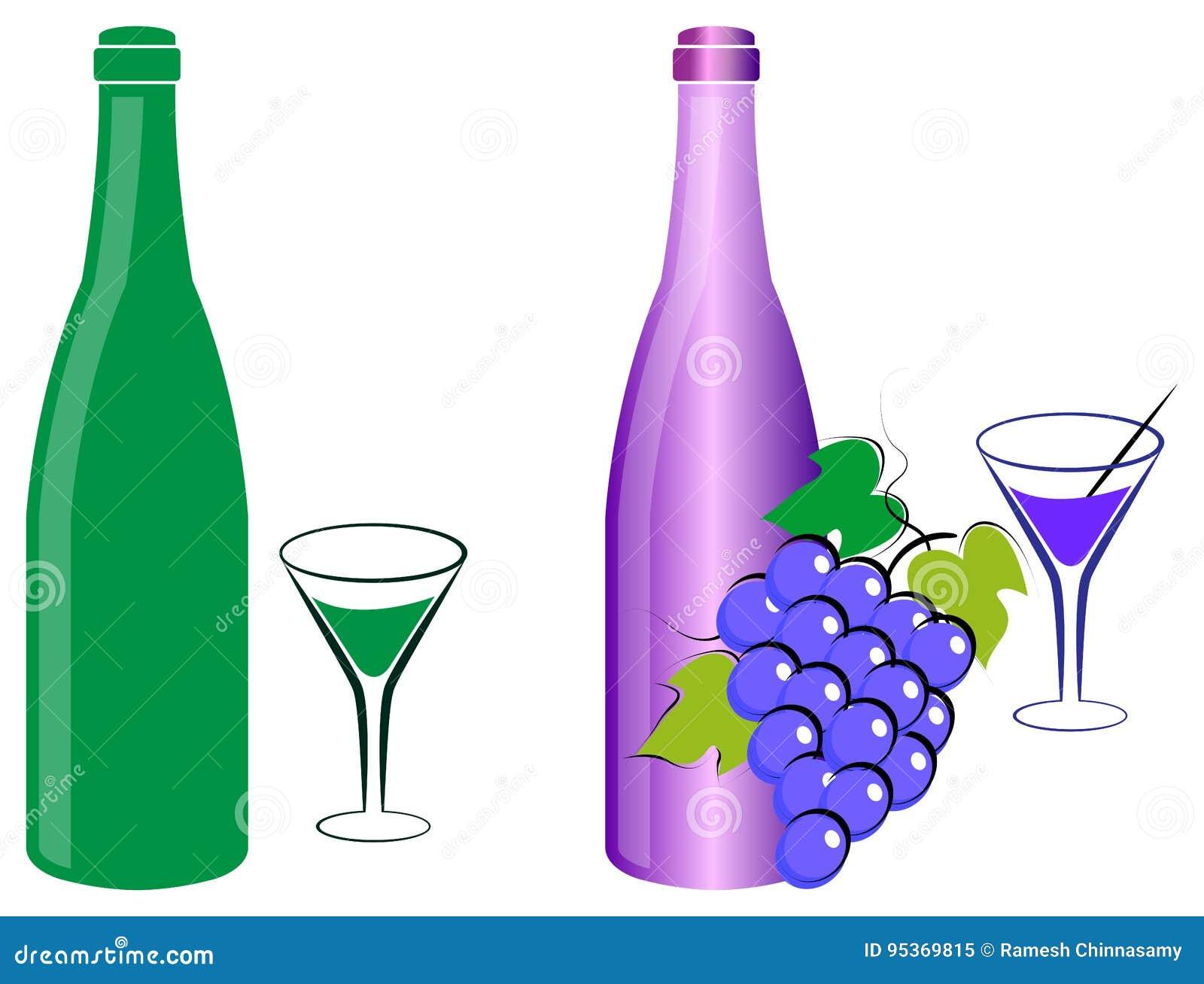 Botella y uvas de vino