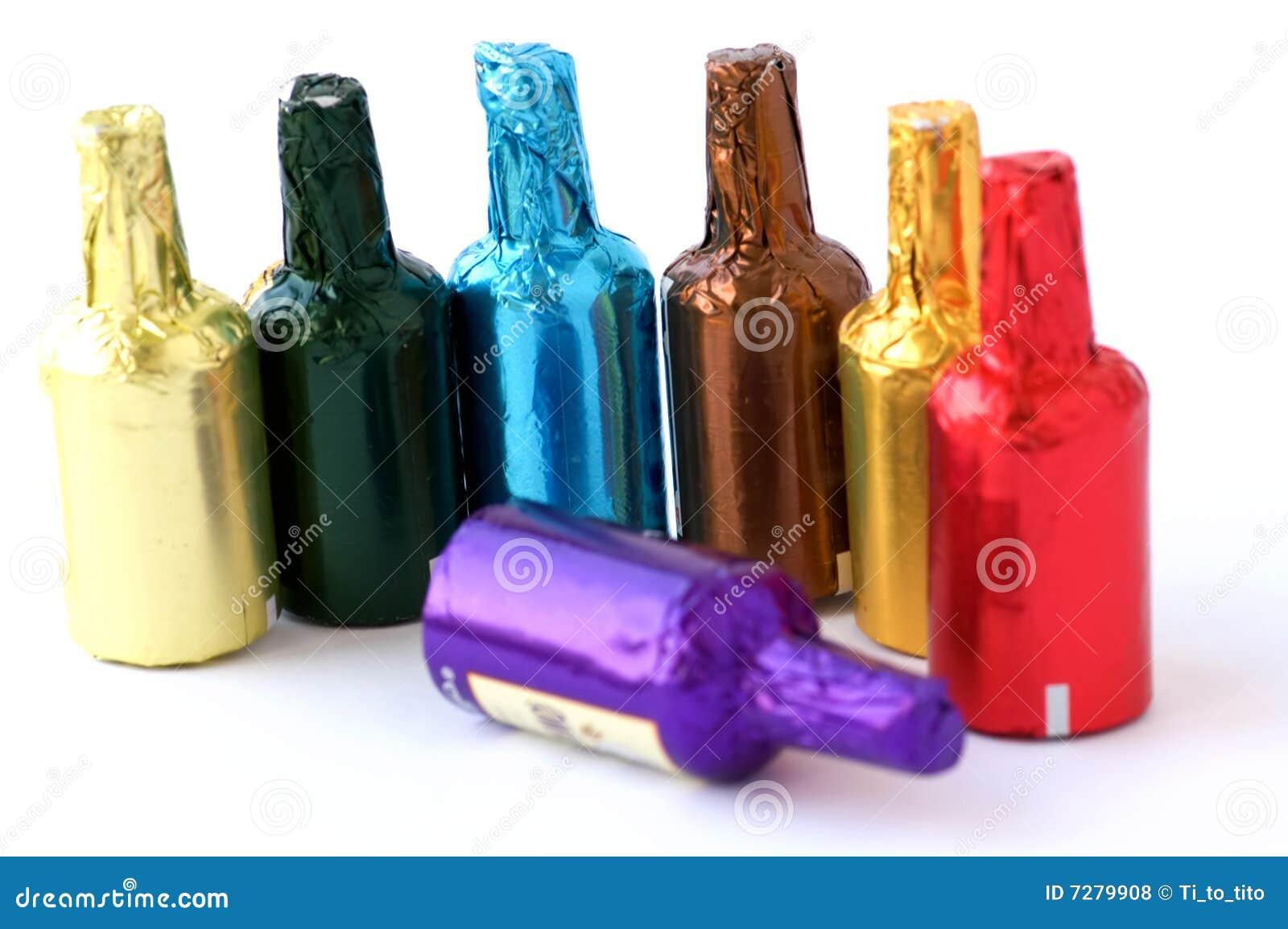 Botellas coloridas del chocolate