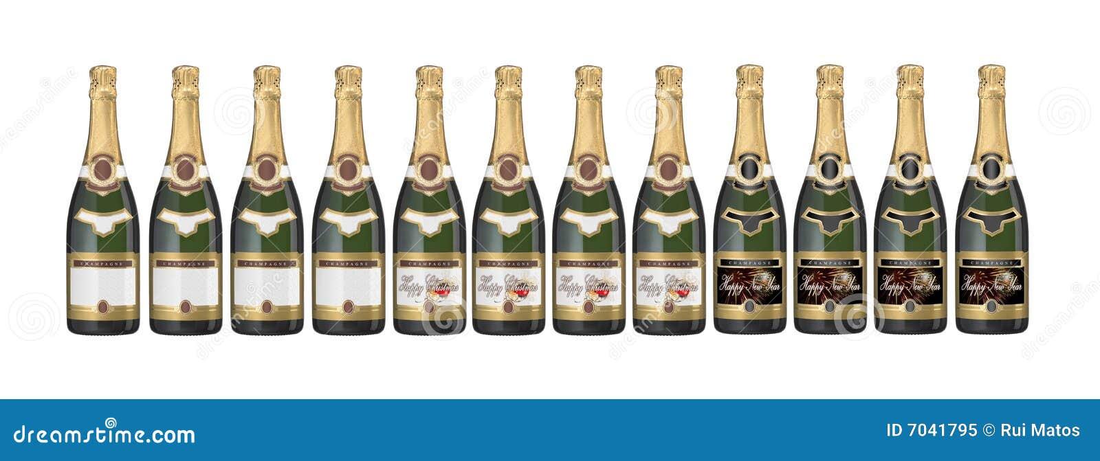Botellas de Champán con varias escrituras de la etiqueta