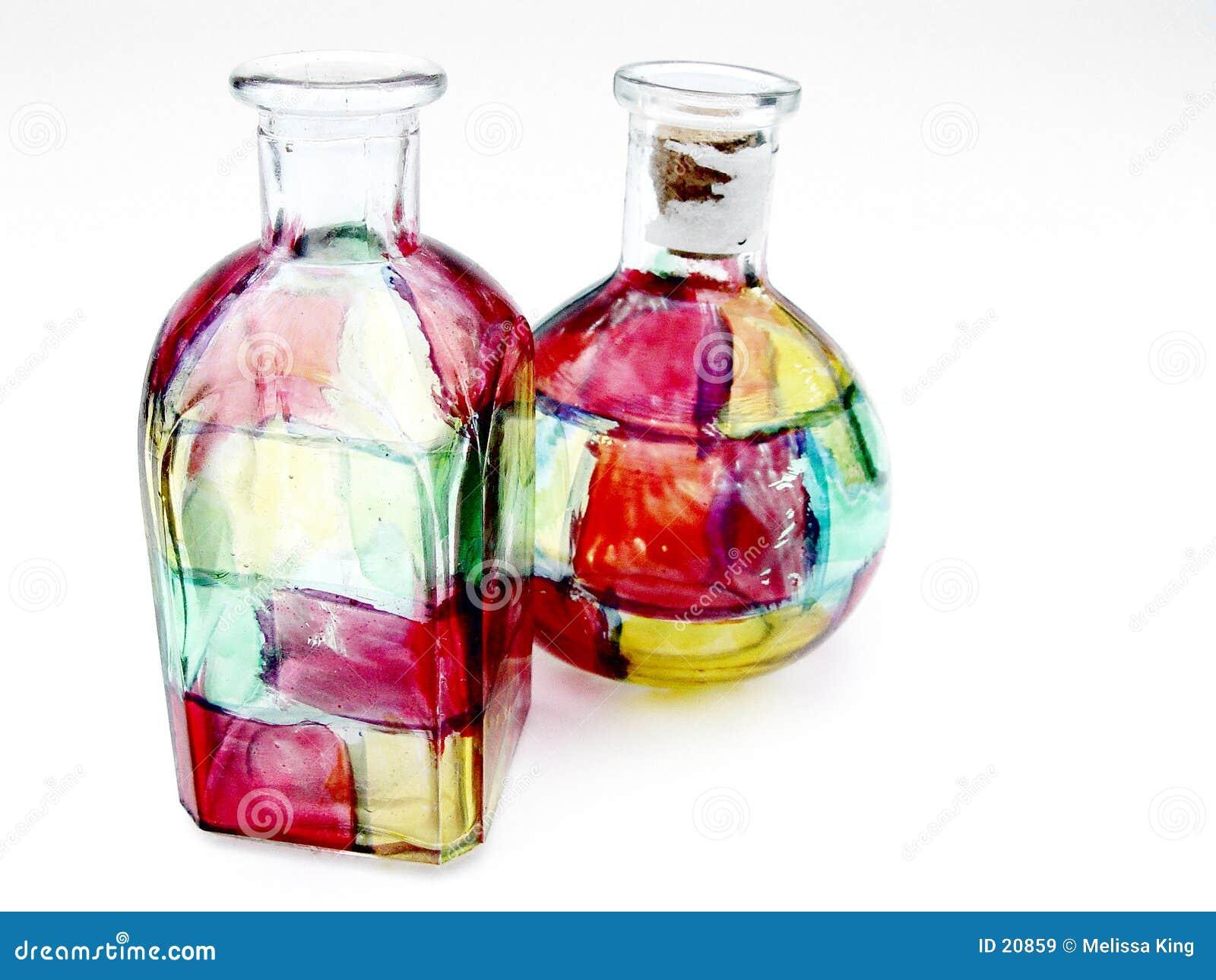 Botellas de cristal de la mancha de óxido