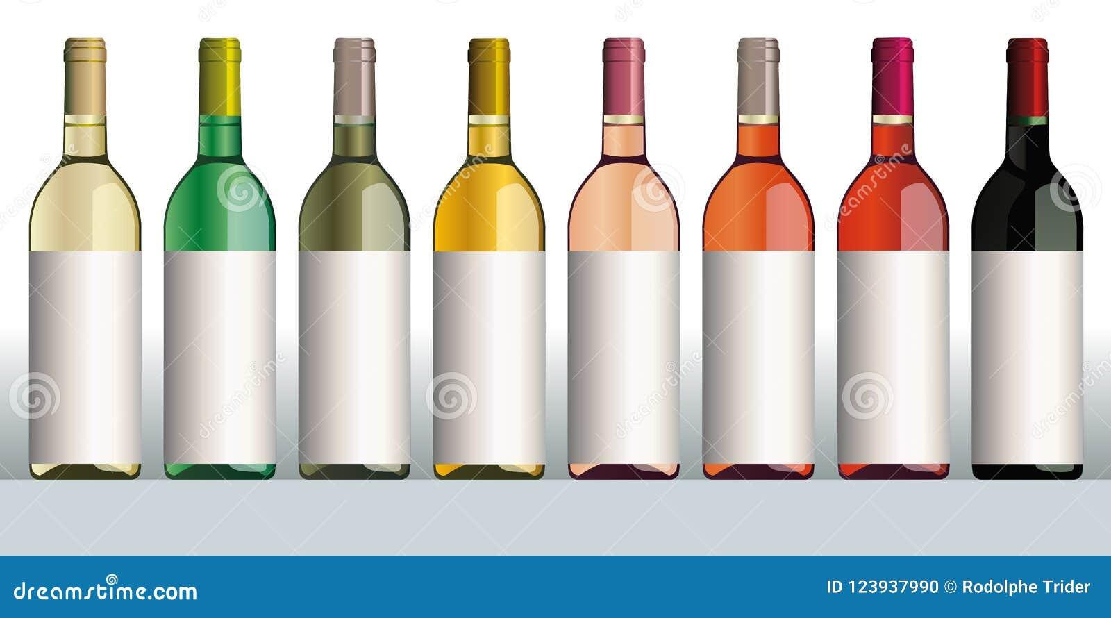 Botellas de vino de diversos colores