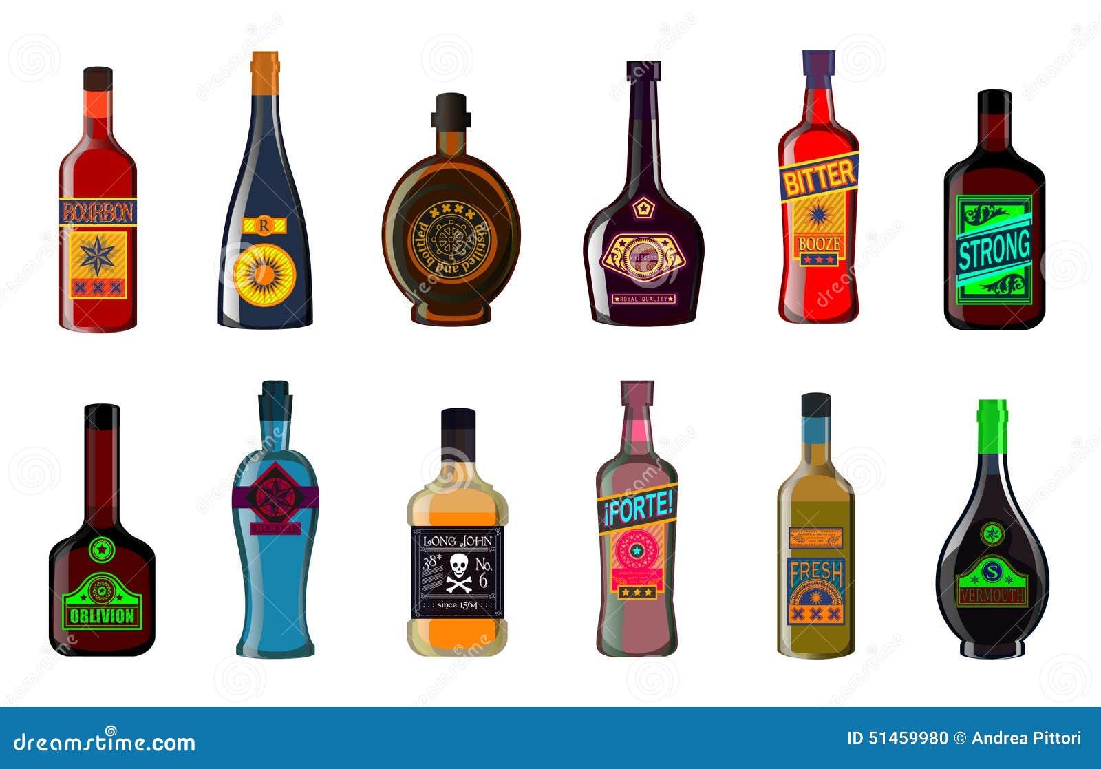 Botellas Del Licor Fijadas: Ejemplo Del Whisky De Las