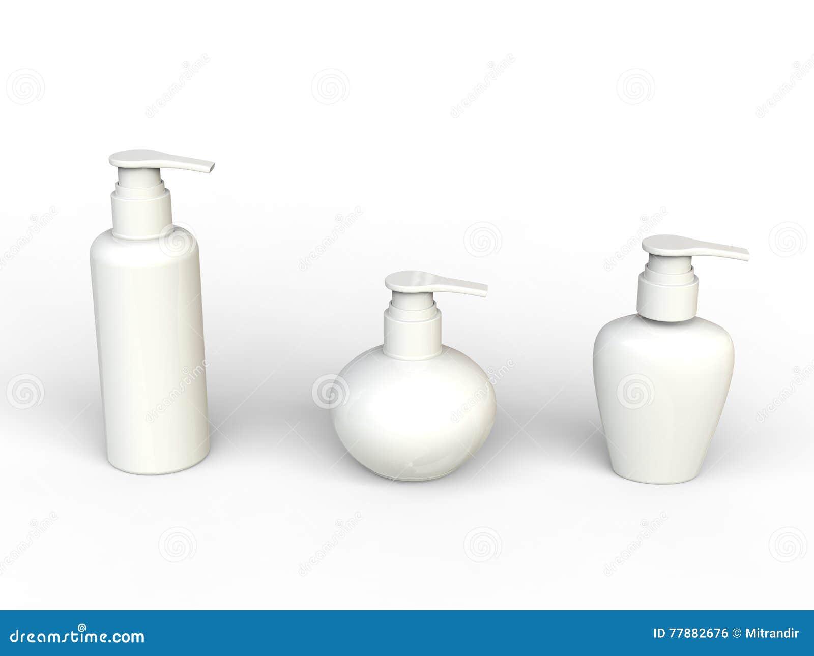 Botellas Unlabled Blanco De La Nata De La Belleza Stock de ilustración