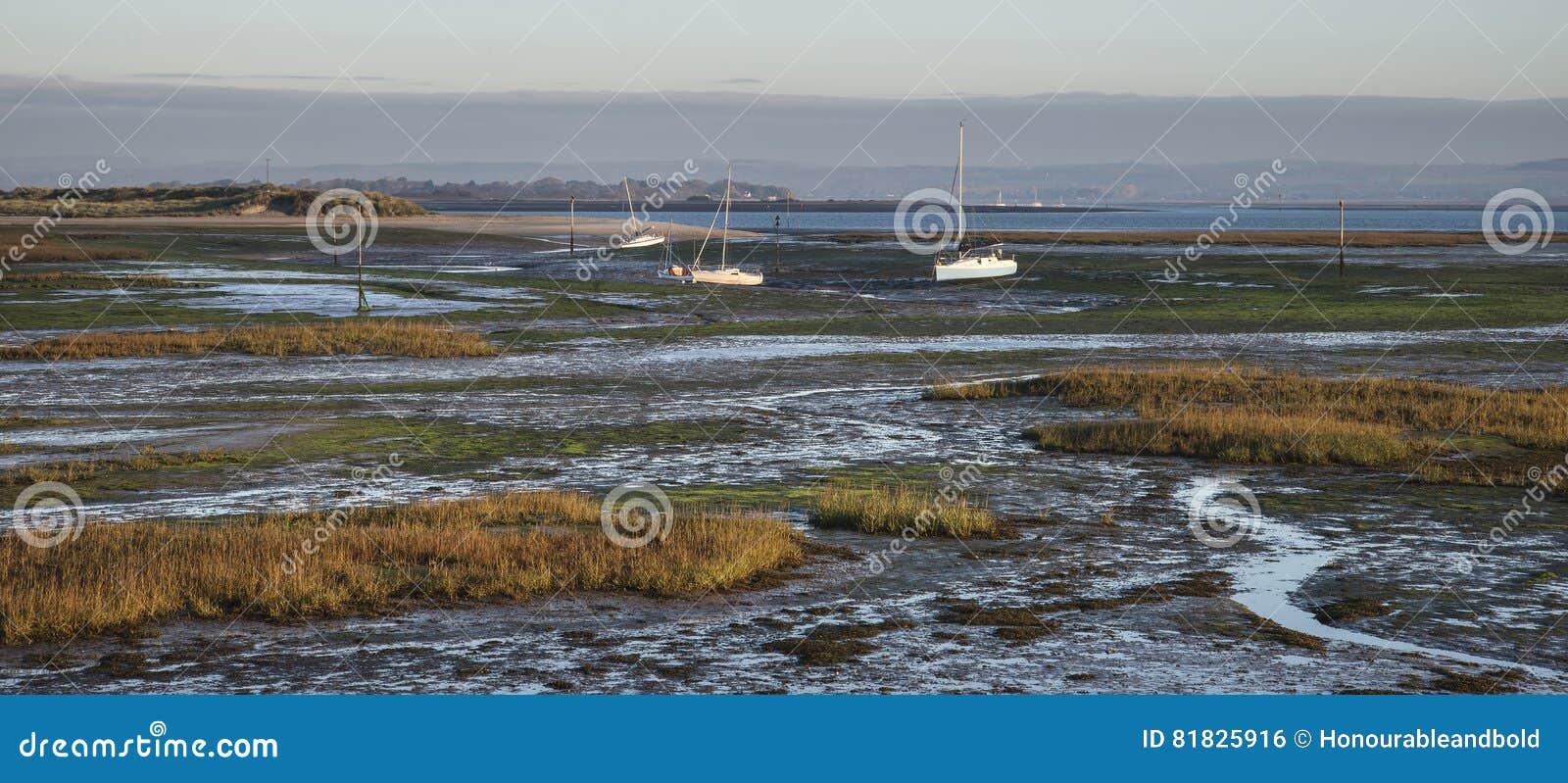 Boten in eb mudflats van lege haven bij zonsopgang