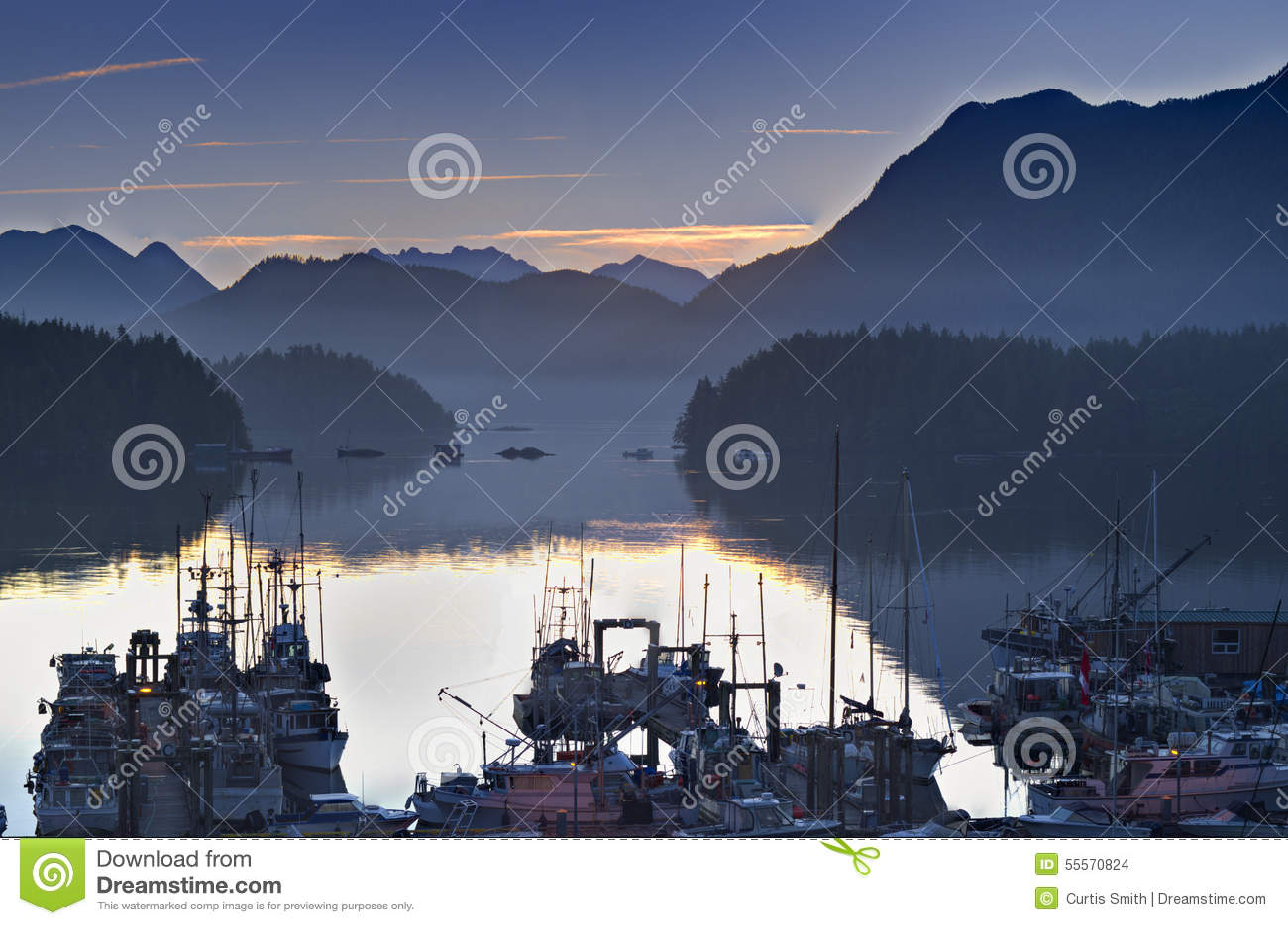 Boten in kalme havenjachthaven bij zonsopgang Tofino Brits Colombia Canada