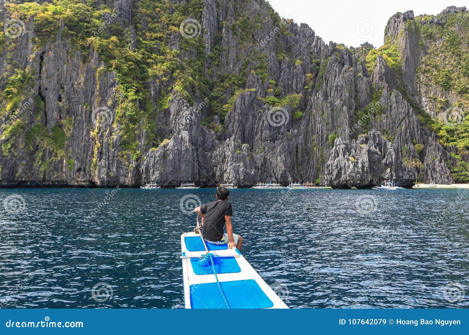 Boten op het strand van Gr Nido, Filippijnen