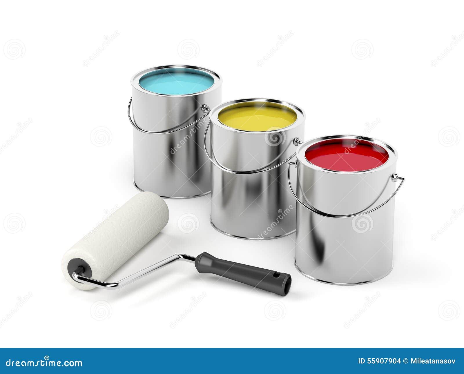 Botes del rodillo de pintura y de la pintura stock de for Bote de pintura precio
