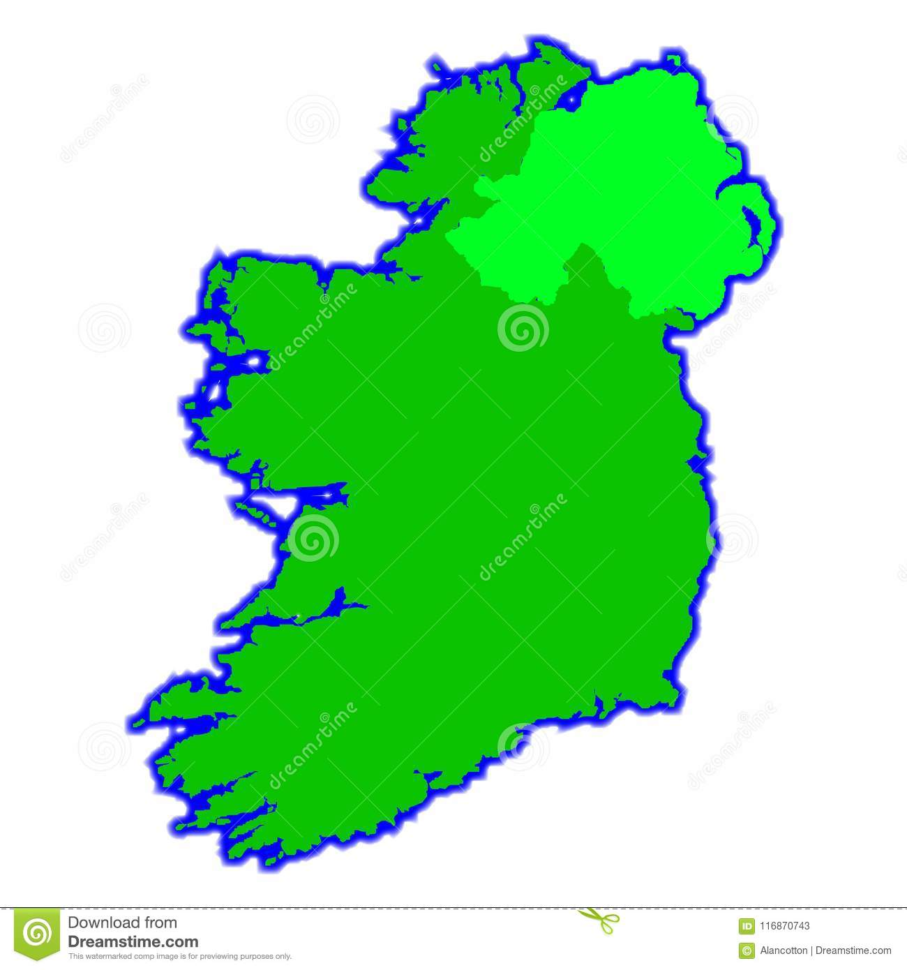 South Of Ireland Map.The Emerald Isle Map Of Ireland Over A White Background Stock Vector