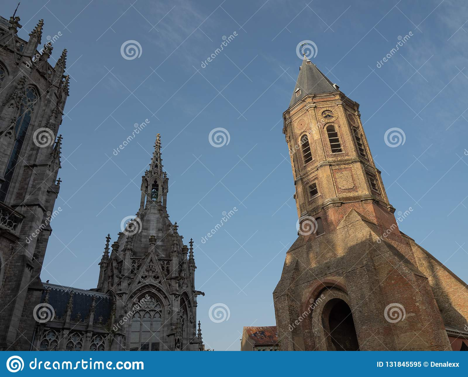 Both towers of St. Peter and Paul`s church and St. Peter`s tower