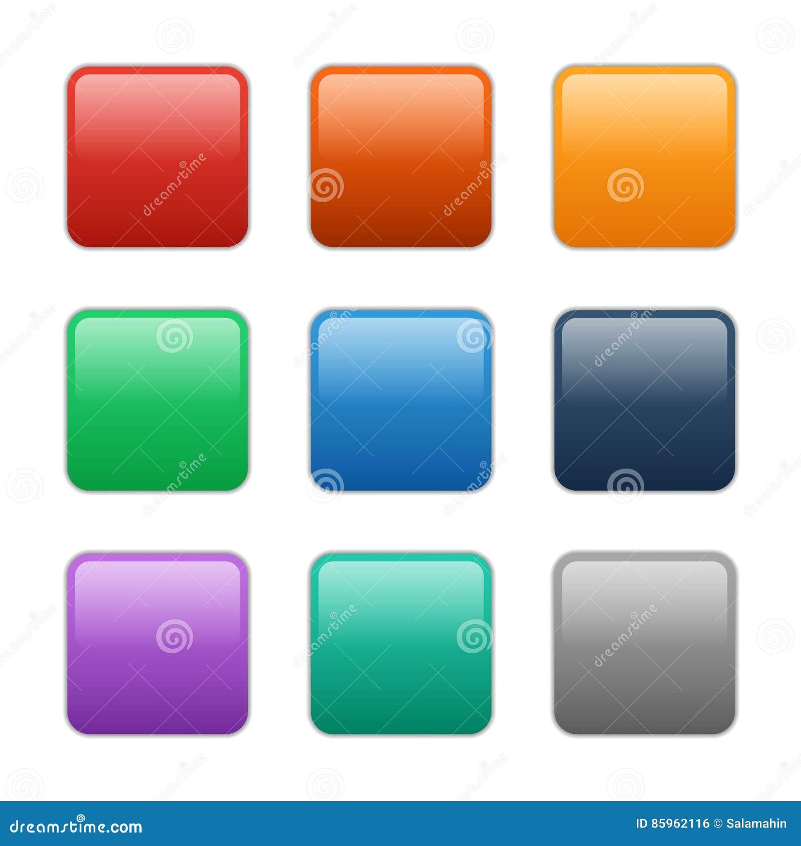 Botones cuadrados de cristal del vector, ejemplo eps10