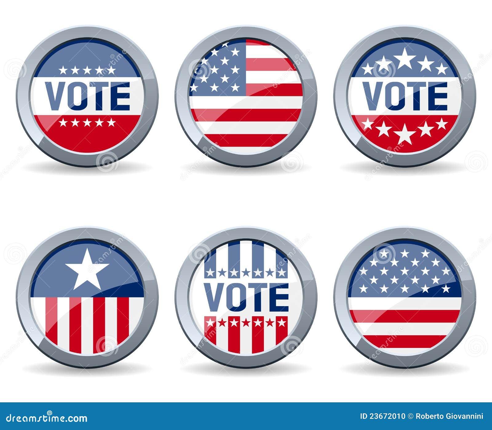 Botones De La Campaña Electoral De De Los E.E.U.U. Ilustración del ...