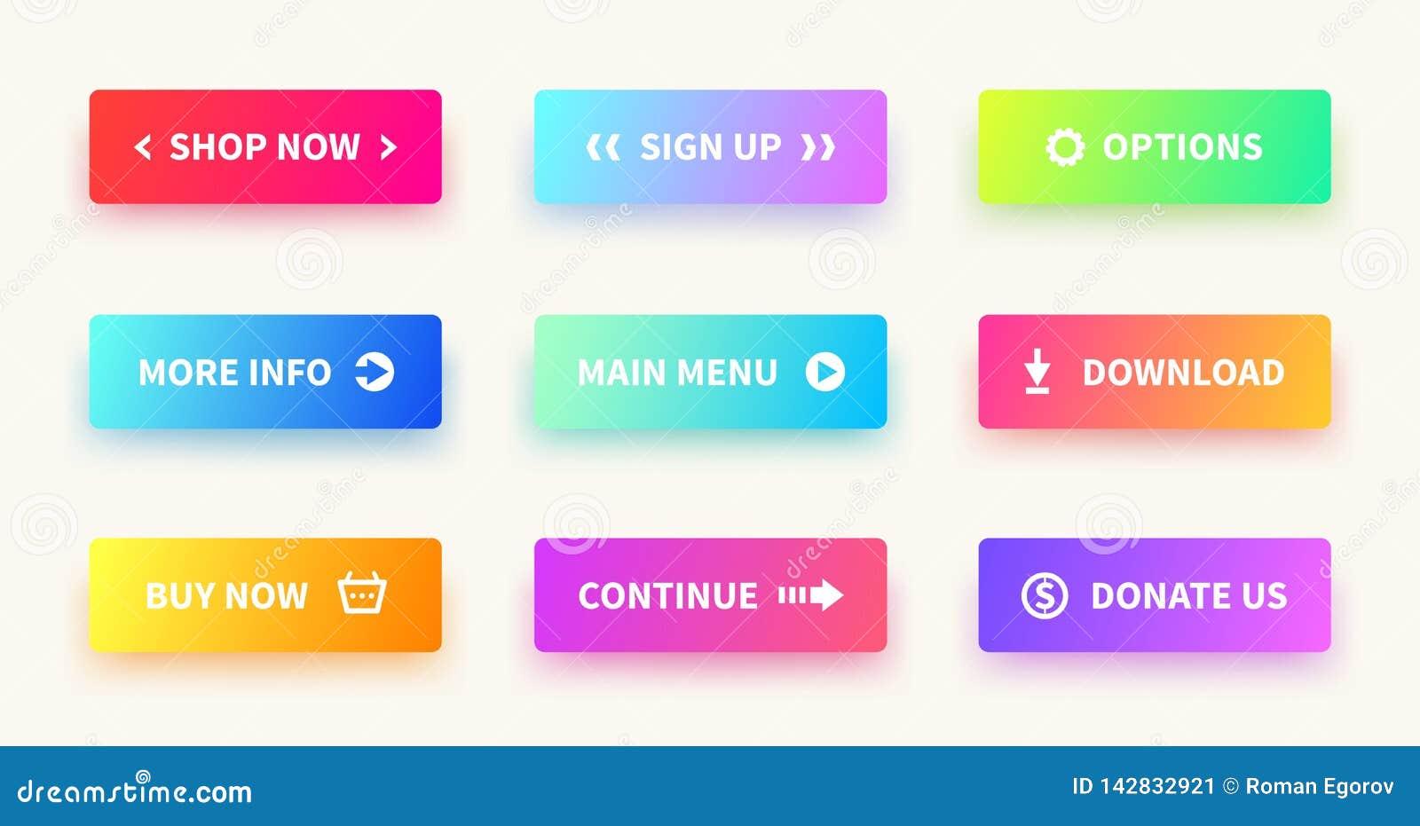 Botones de la pendiente Botón de la web de la interfaz de usuario, diseño material, forma rectangular del ui, acción del app some
