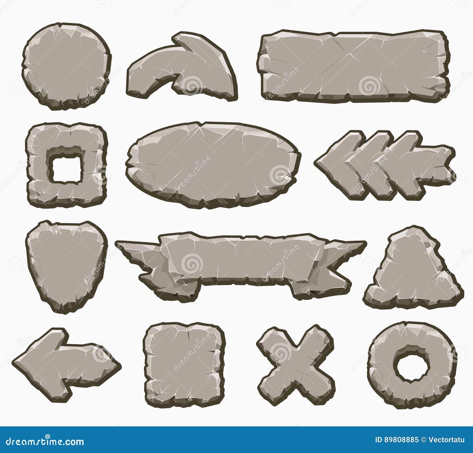 Botones del interfaz de la historieta de la roca fijados