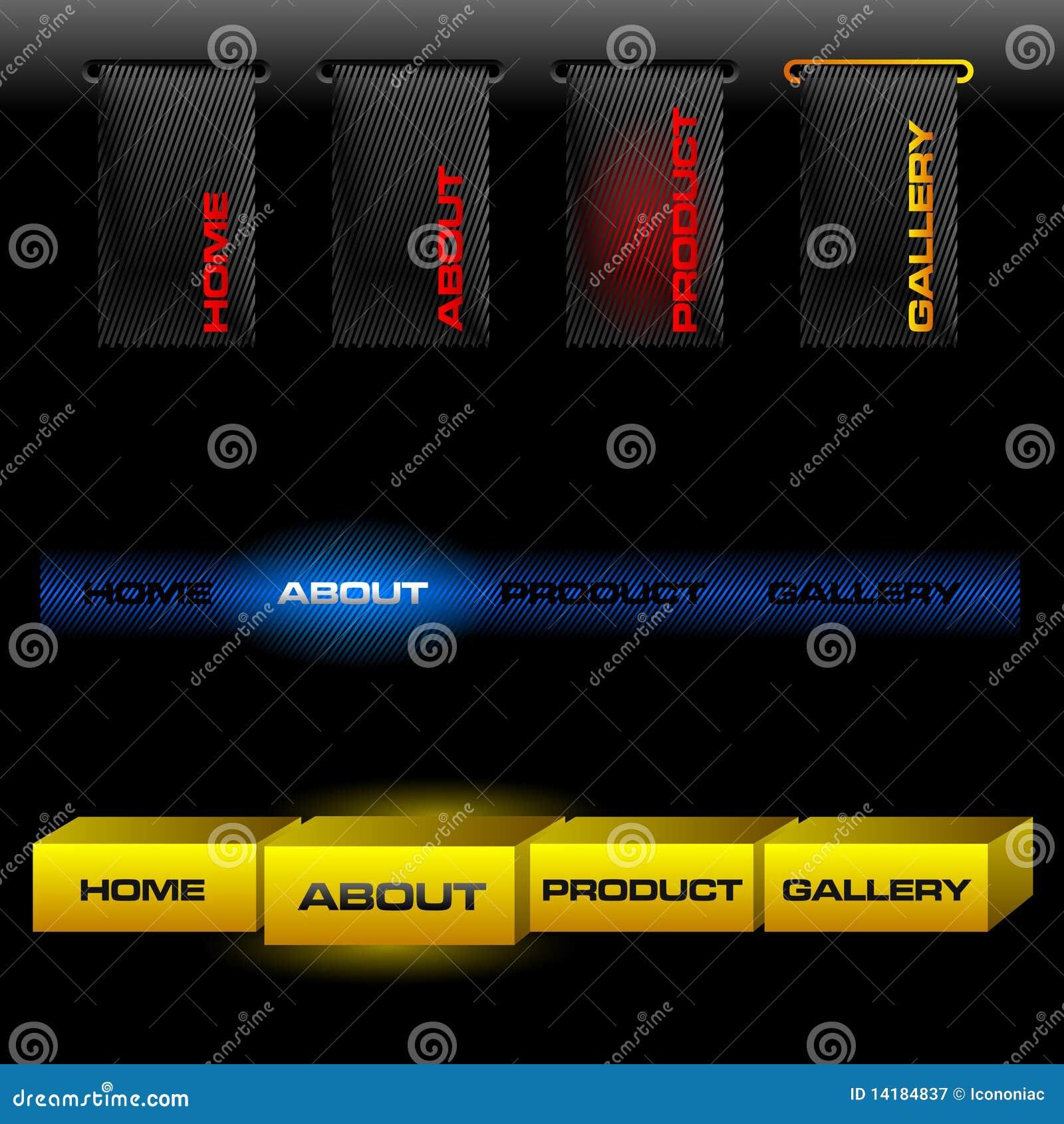 Botones Editable del vector del Web site