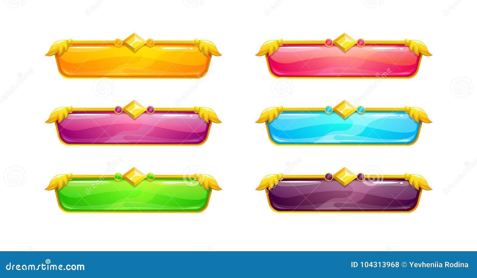 Botones horizontales largos coloridos hermosos