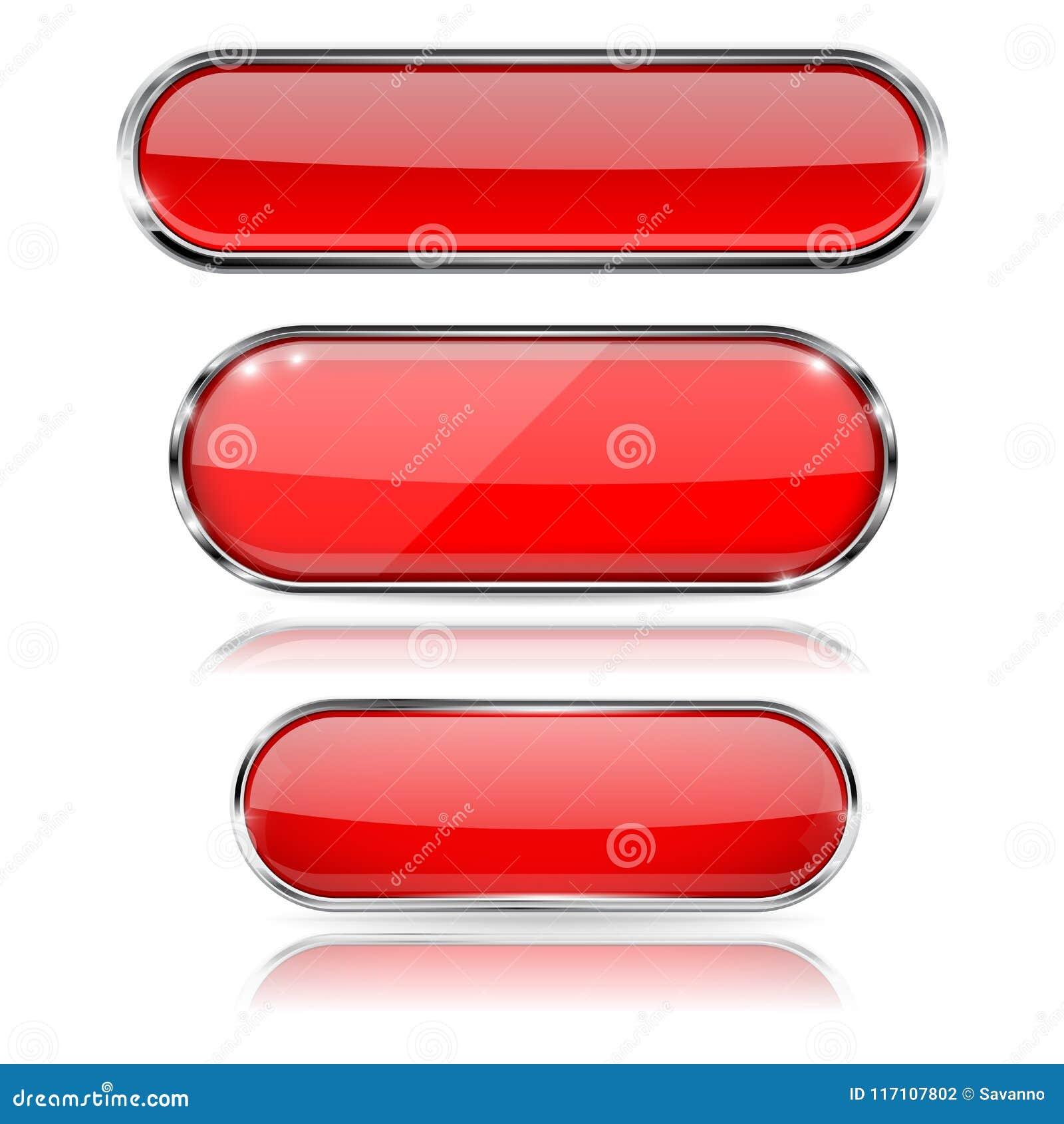 Botones Rojos Del Vidrio 3d Con El Marco Del Cromo Iconos Ovales ...