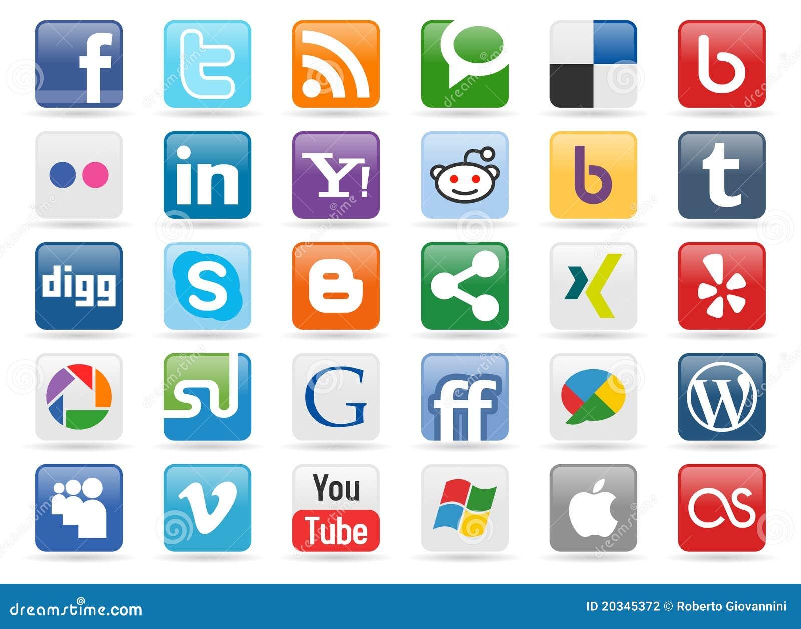 Botones sociales de los media