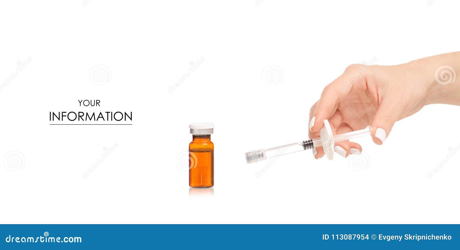 Botox de vidro do frasco do tubo de ensaio da medicina com teste padrão médico da seringa à disposição