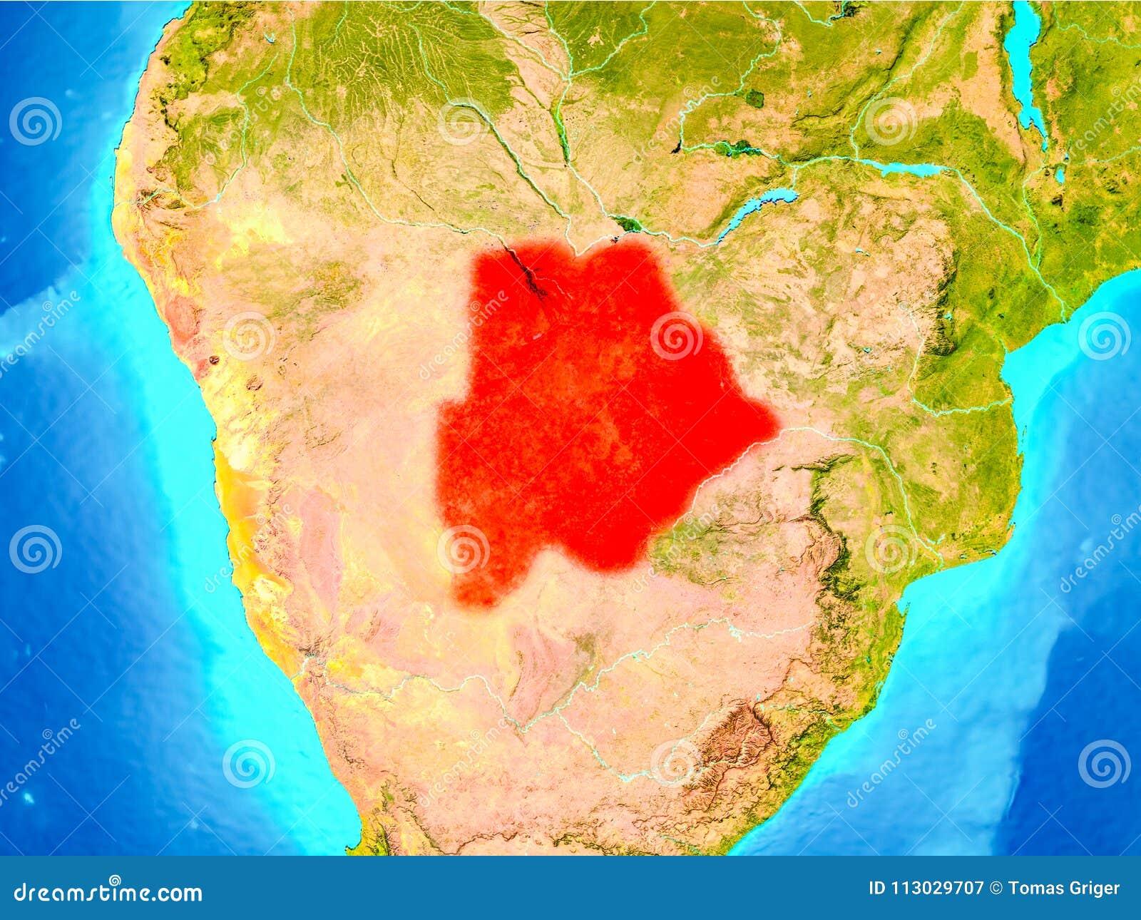 Botswana en rojo en la tierra
