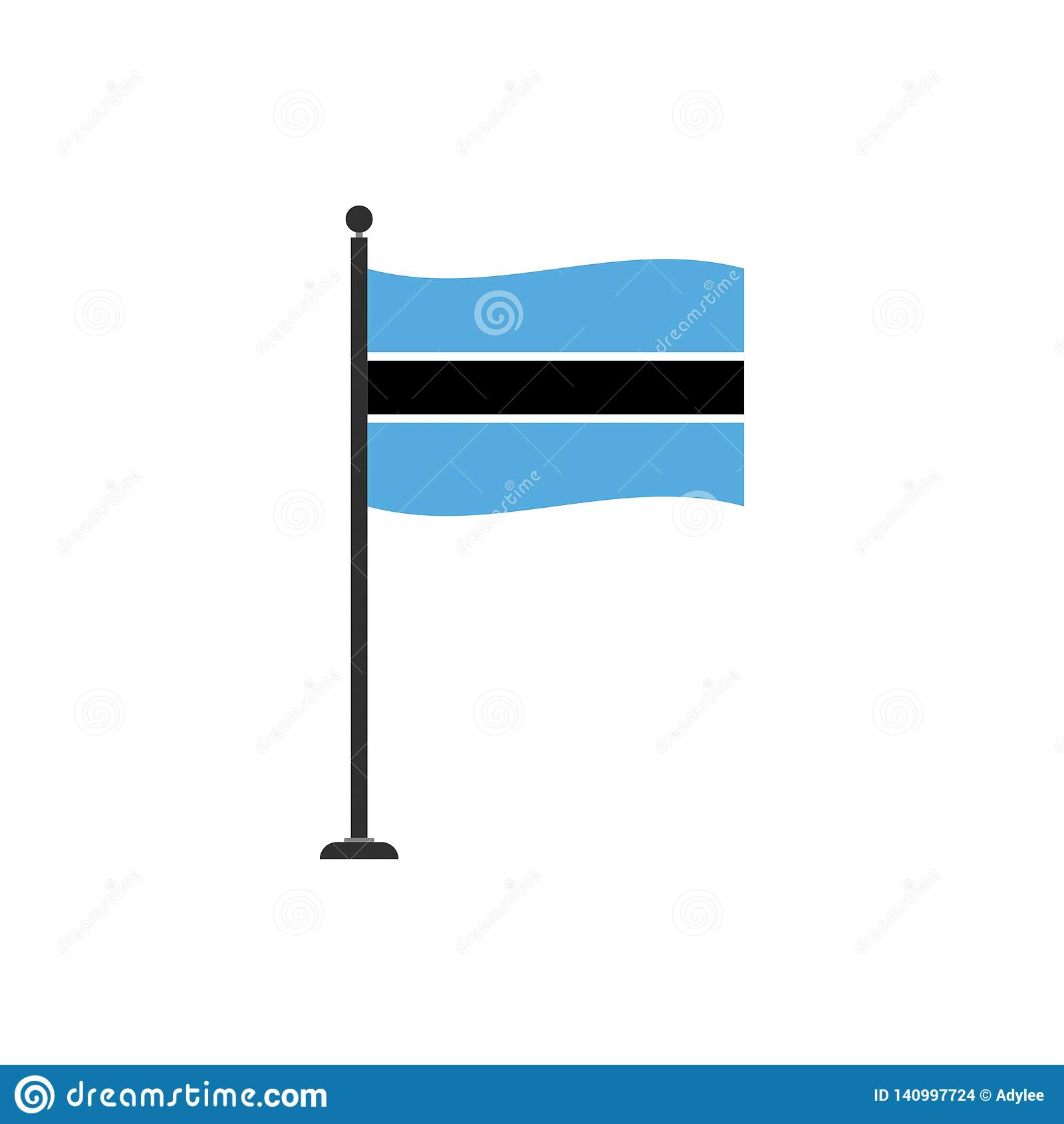 Botswana Flag Vector Isolated 4 Stock Vector - Illustration of