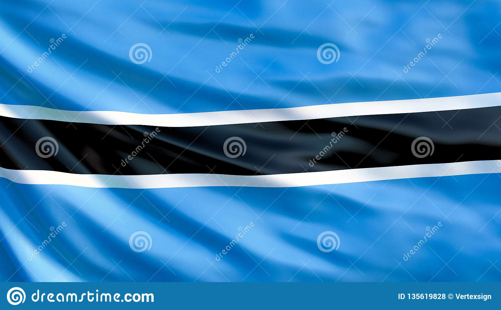 Botswana Flag  Waving Flag Of Botswana 3d Illustration Stock