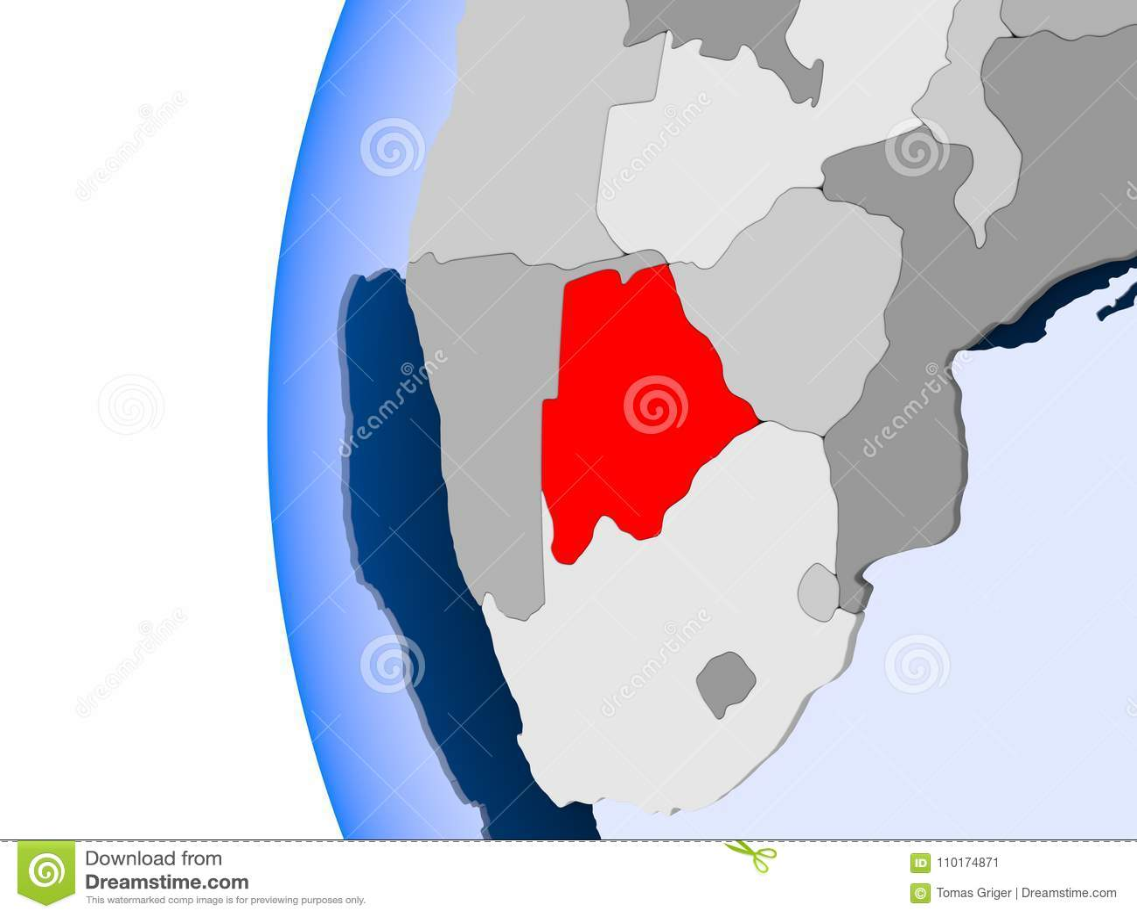 Botswana Political Map.Map Of Botswana On Political Globe Stock Illustration Illustration