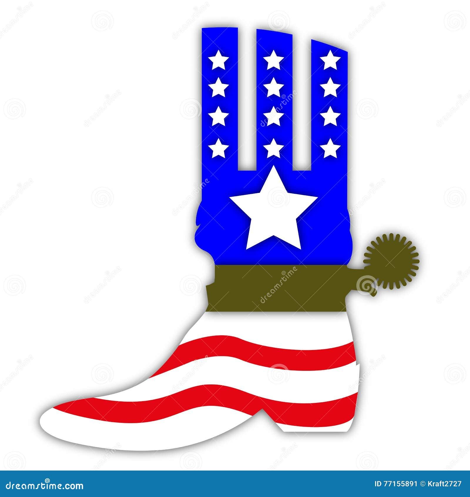Bottes de cowboy dans le style de drapeau des USA