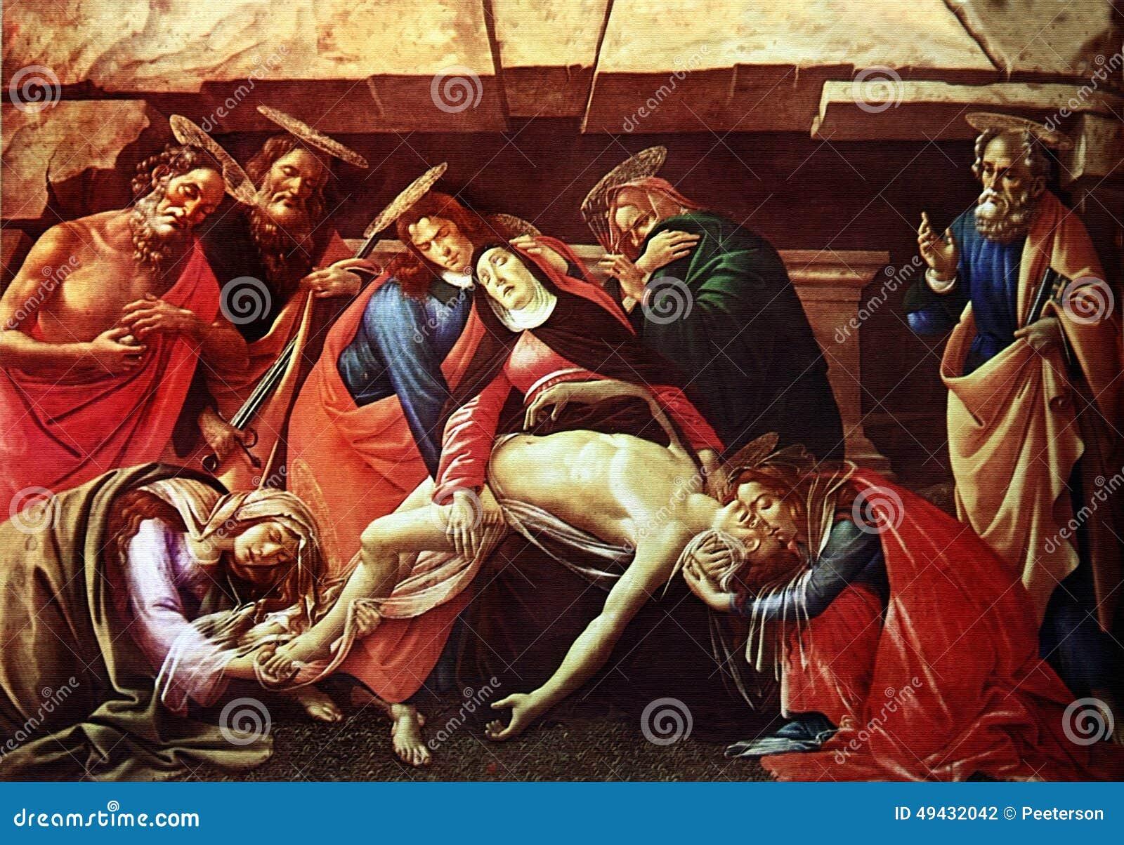Botticelli - klagovisa över den döda Kristus med helgon