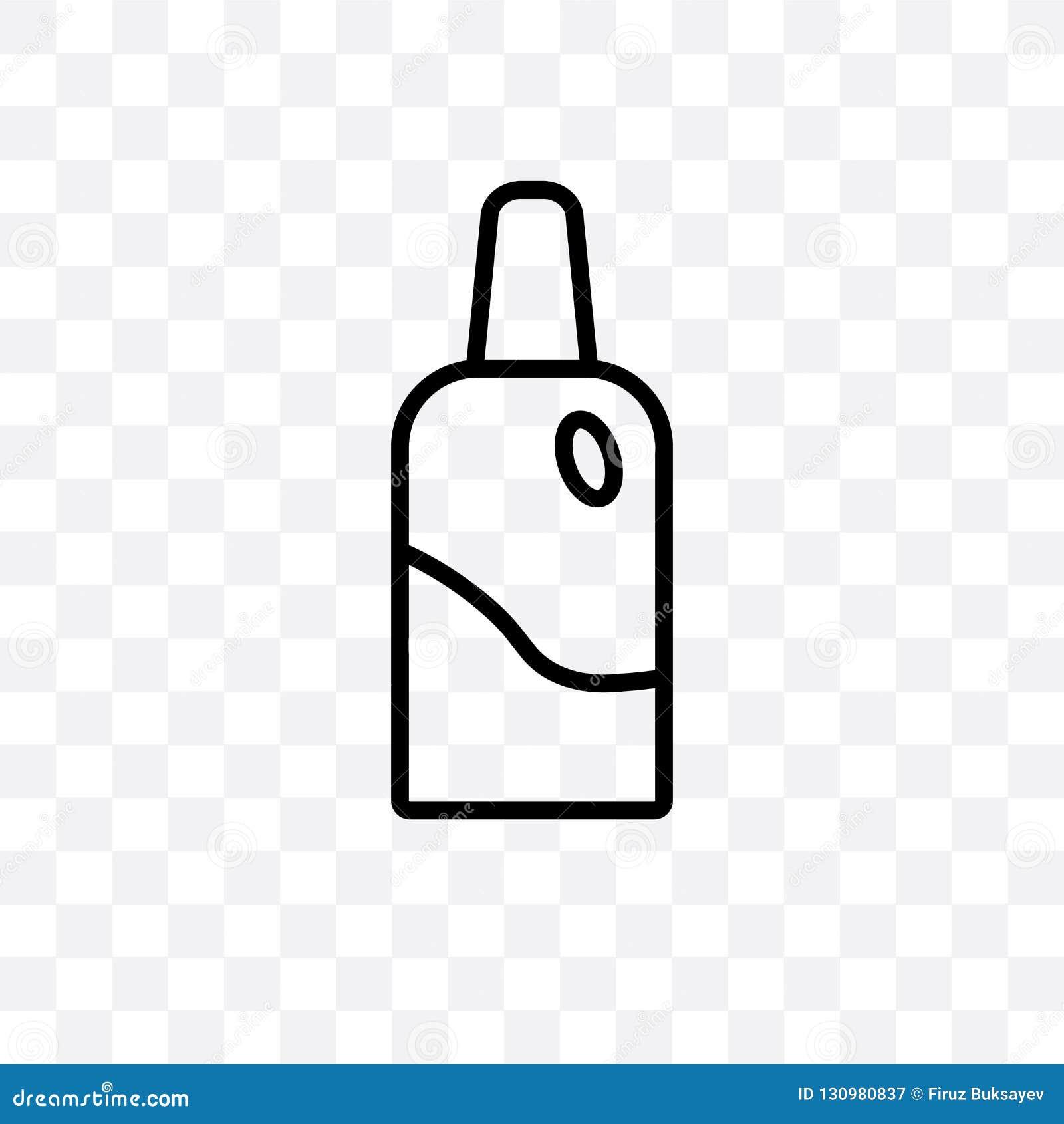 Bottiglia con l icona lineare di vettore liquido isolata su fondo trasparente, bottiglia del dentista del dentista con il concett