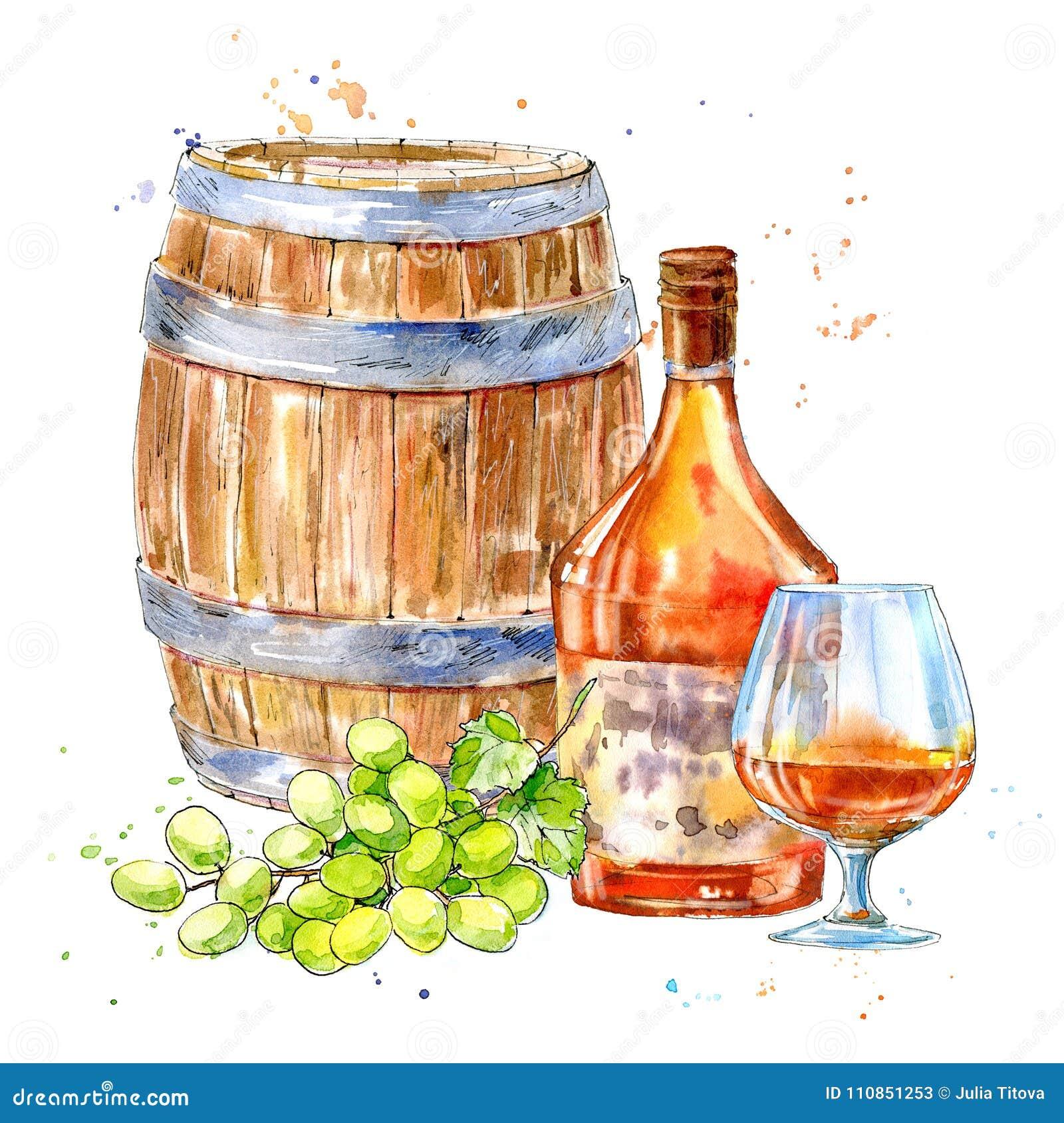Bottiglia del cognac, del barilotto di legno, dell uva e dei vetri