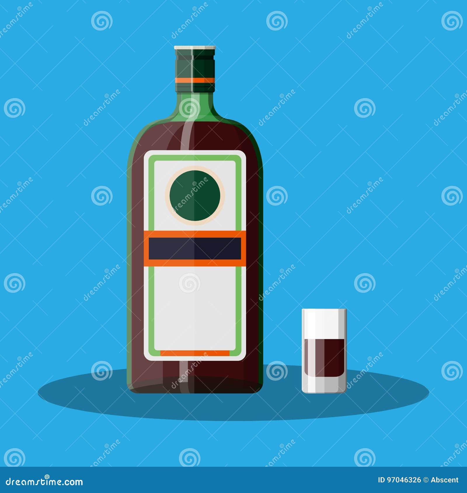 Bottiglia del liquore dell erba con il vetro di colpo