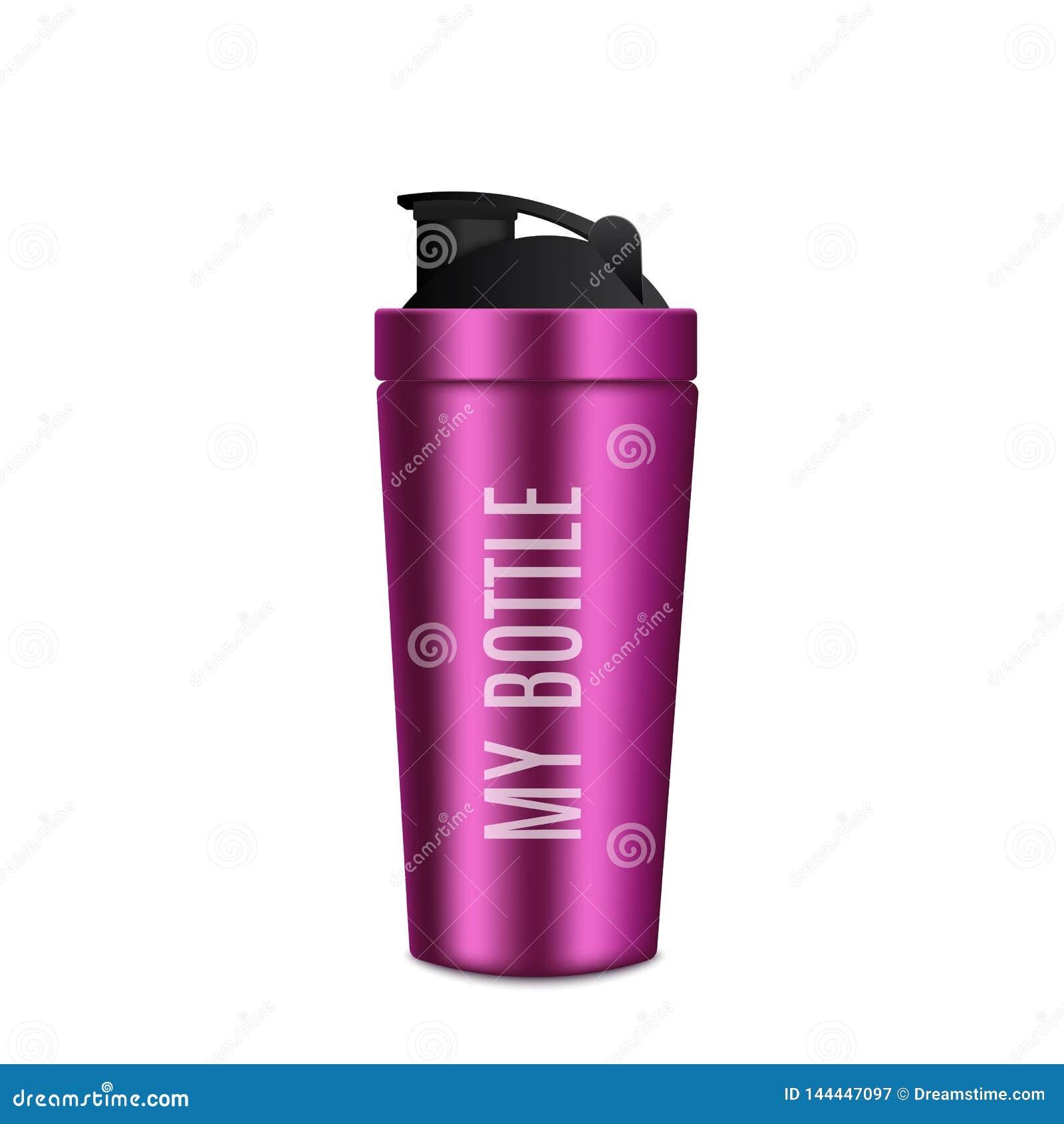 Bottiglia del metallo realistica Bottiglia rosa di forma fisica Vettore