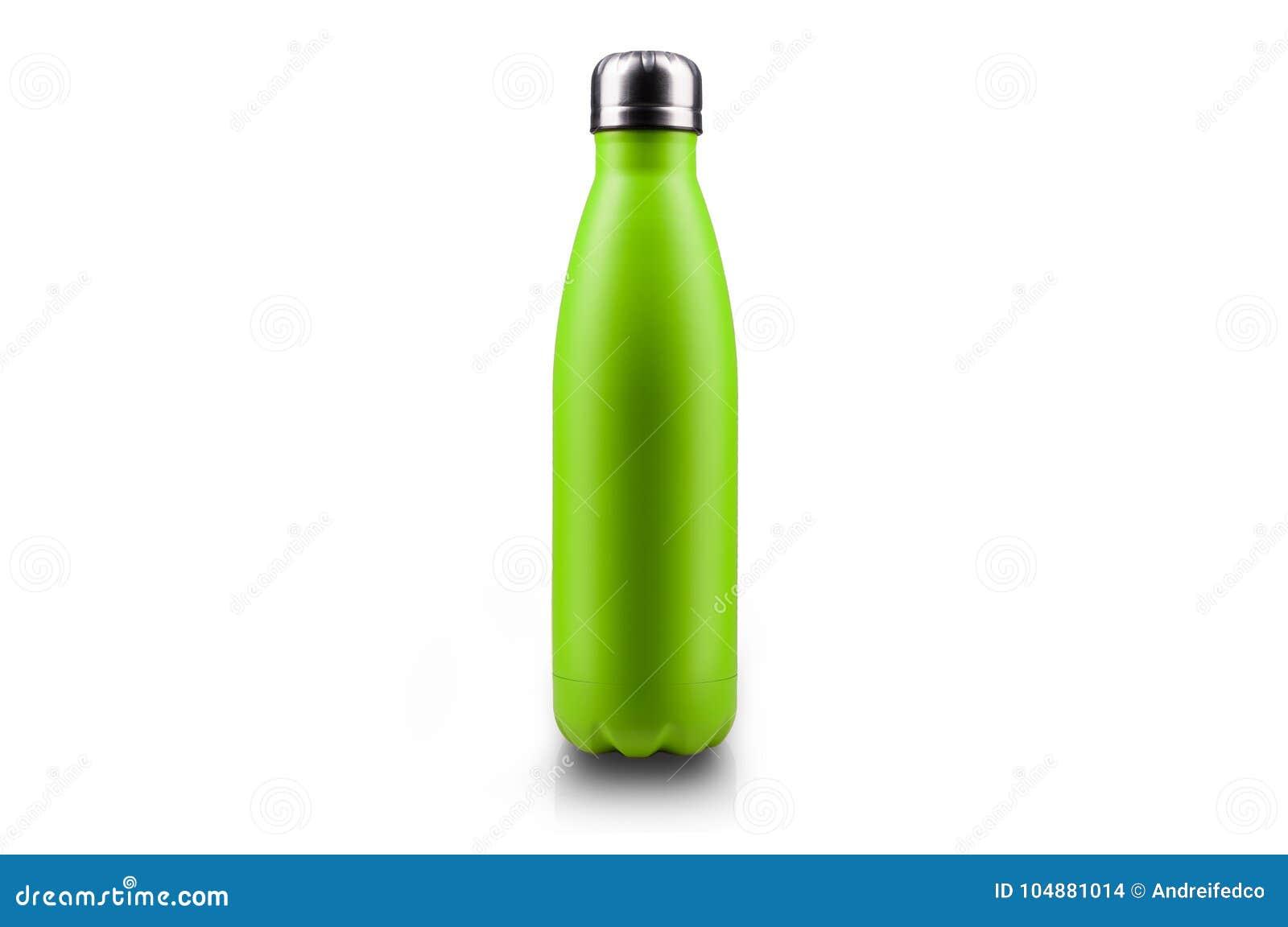 Bottiglia di acqua inossidabile del termos, isolata su fondo bianco Colore verde chiaro