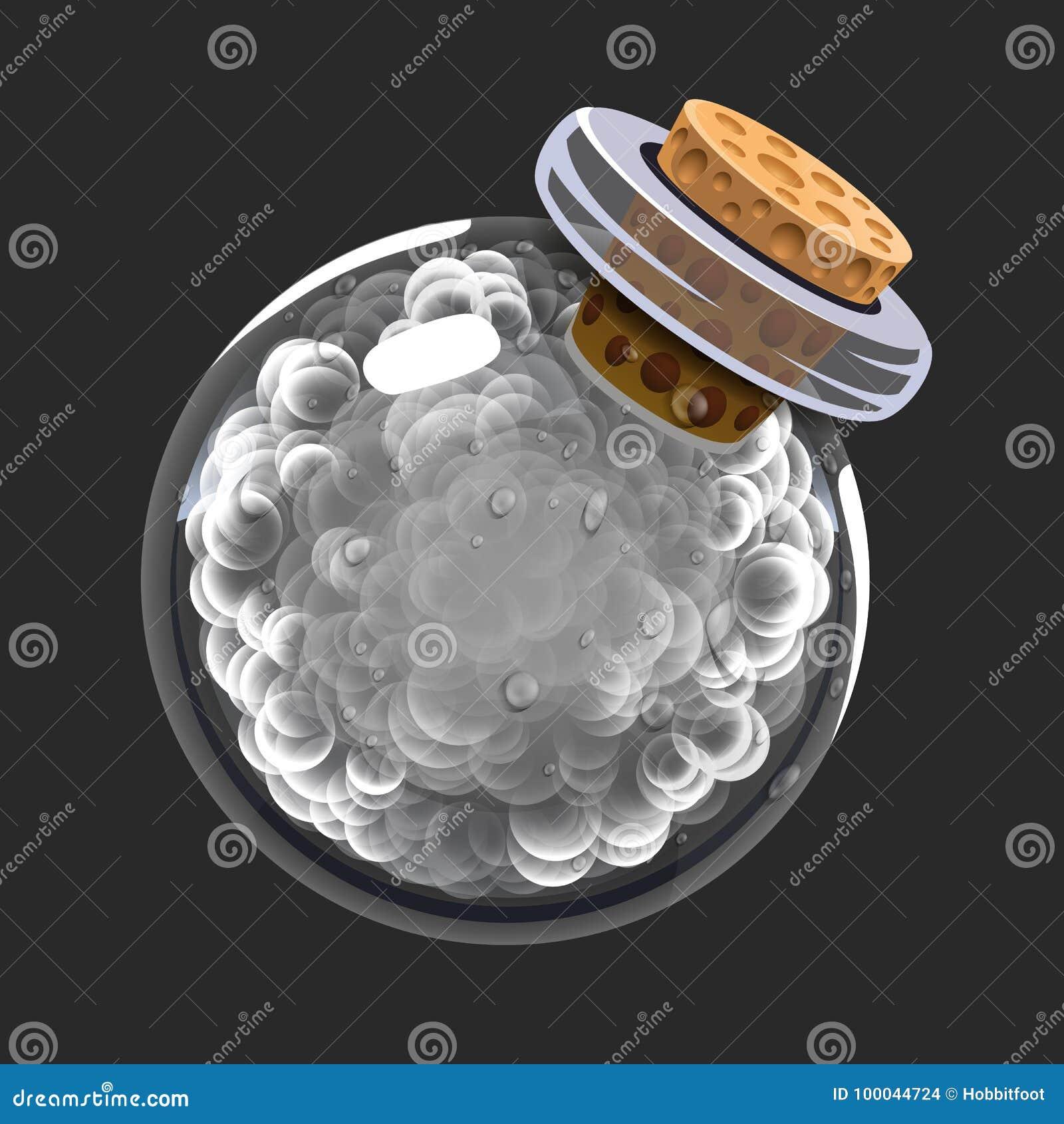 Bottiglia di fumo Icona del gioco di elisir magico Interfaccia per il gioco rpg o match3 Fumo o nuvole Grande variante