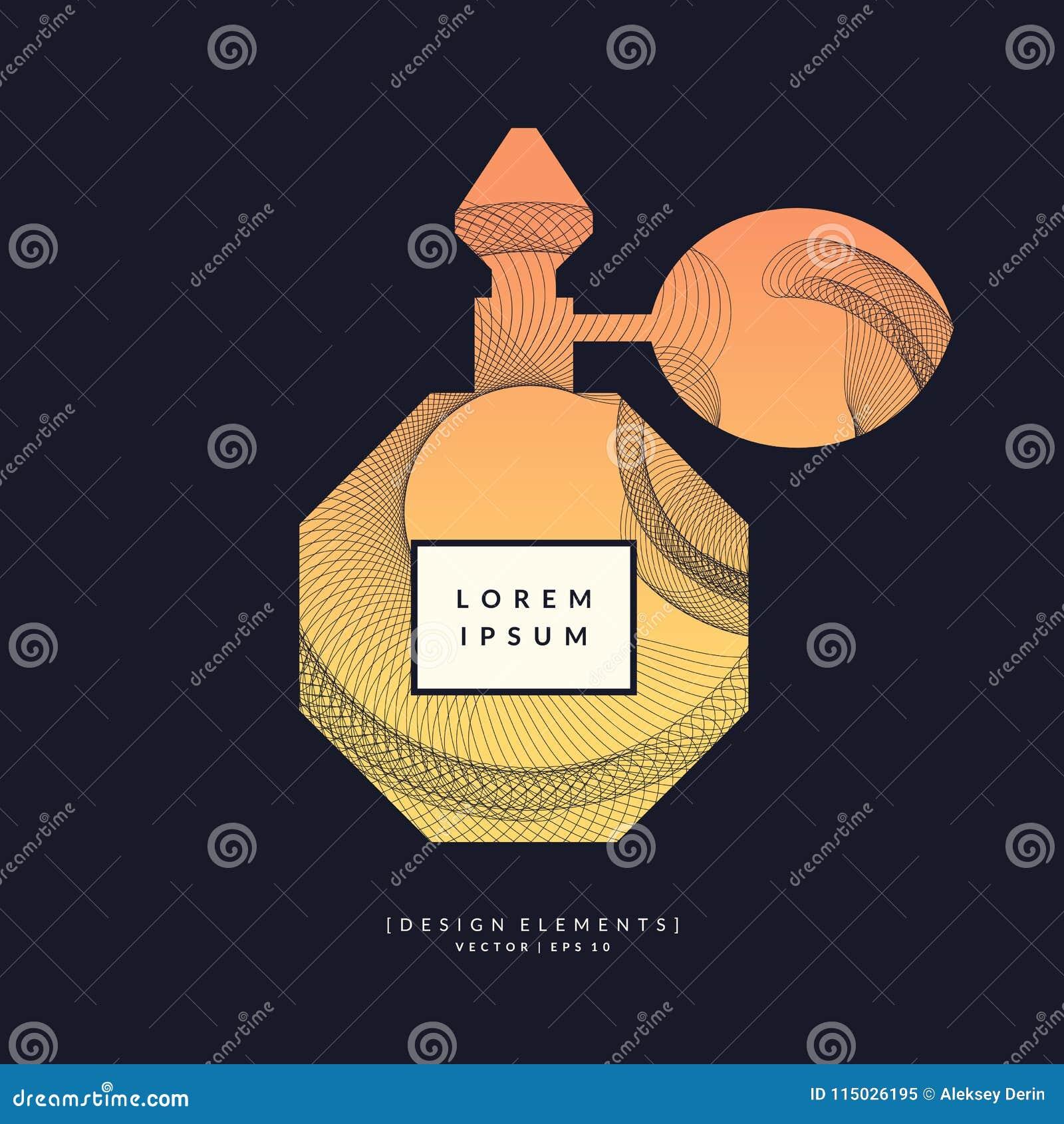 Bottiglia di profumo con le linee e le onde dinamiche Manifesto moderno luminoso per fragranza di vendita e di pubblicità