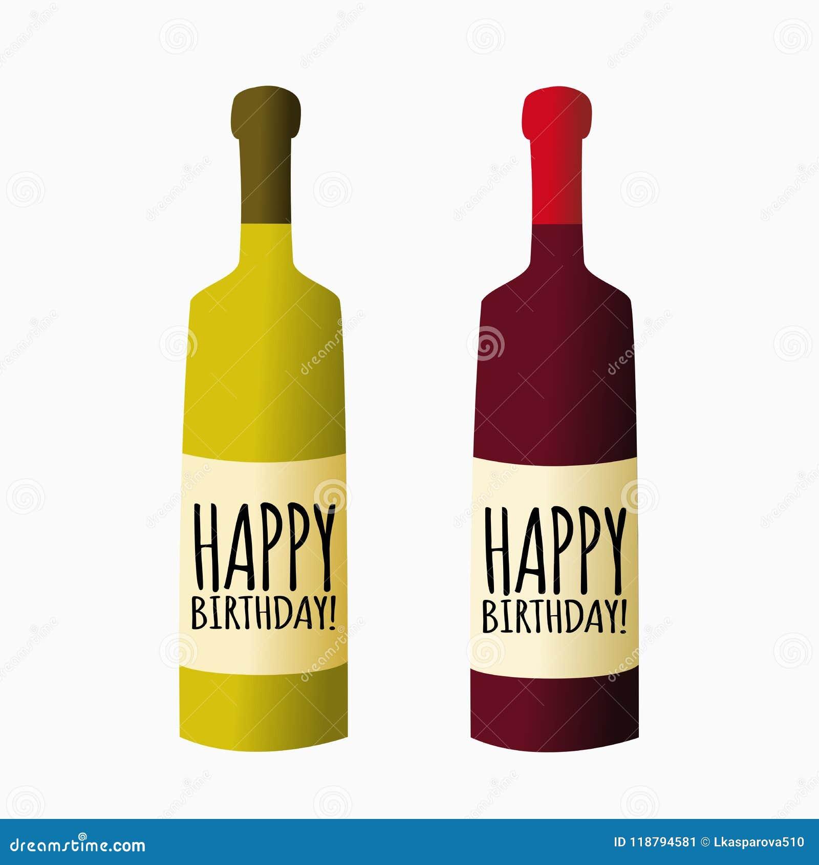 Bottiglia Di Vettore Di Vino Buon Compleanno Illustrazione