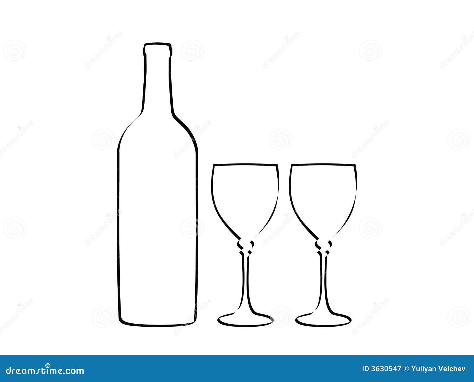 Bottiglia di vino e due vetri