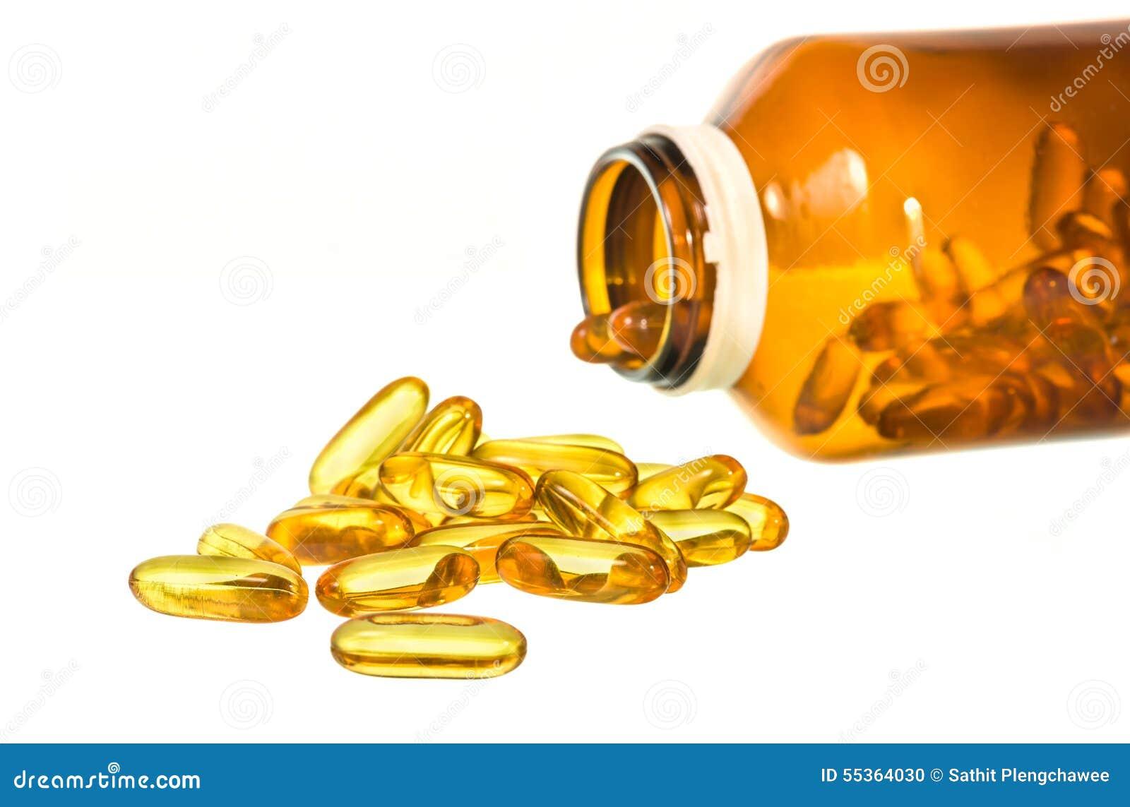 Bottiglia di vitamina D con i contenuti rovesciati isolati sul backgro bianco