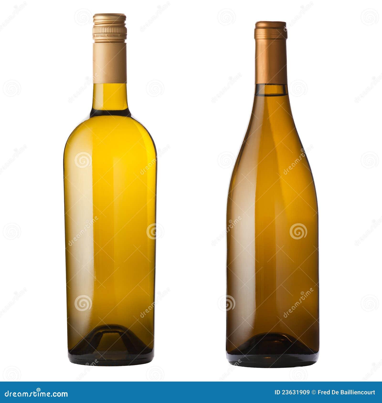 Bottiglie Di Vino Bianco Su Bianco Immagine Stock