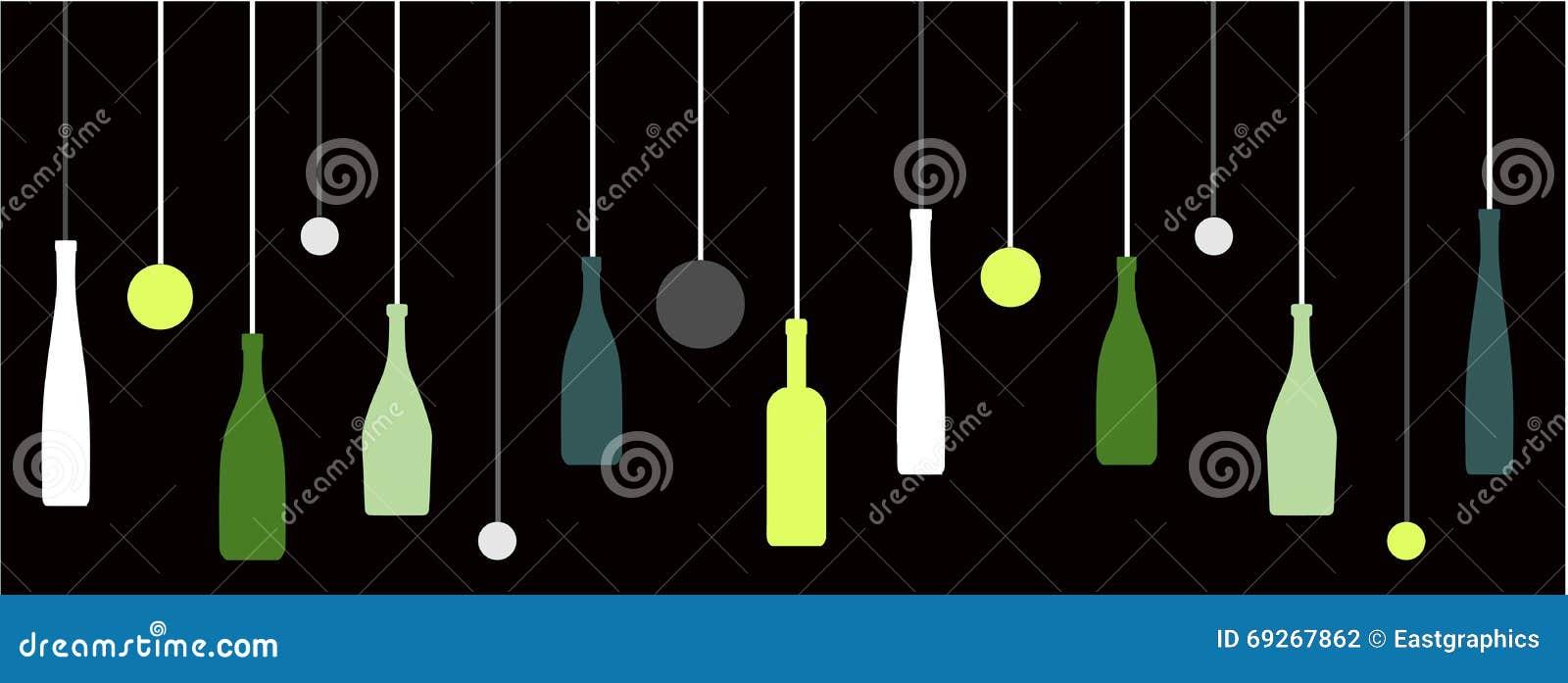 Bottiglie di vino del liquore con le bolle