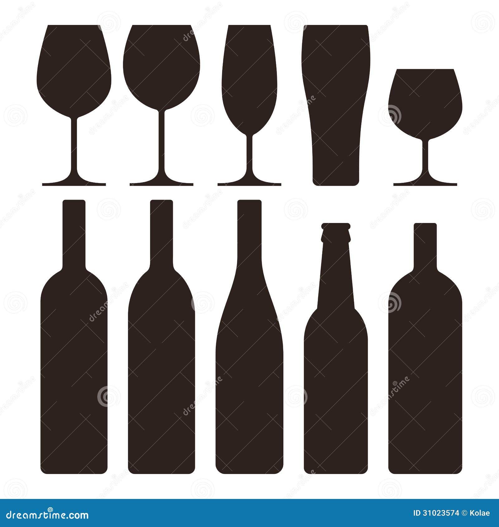 Bottiglie e vetri messi