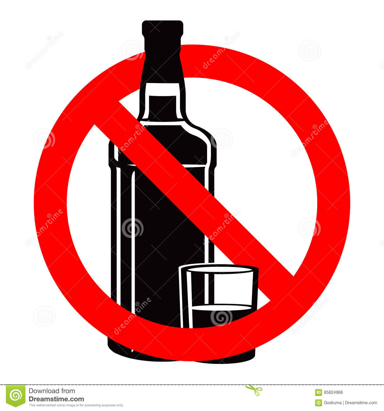 bottle of alcohol drink and stemware in no allowed sign vector illustration