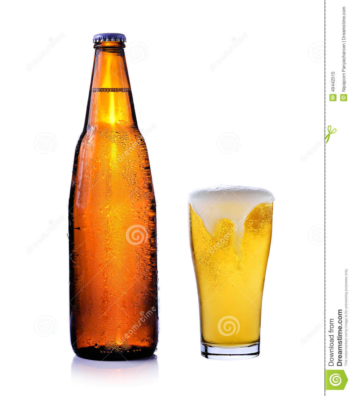 Bottle of beer and glass of beer