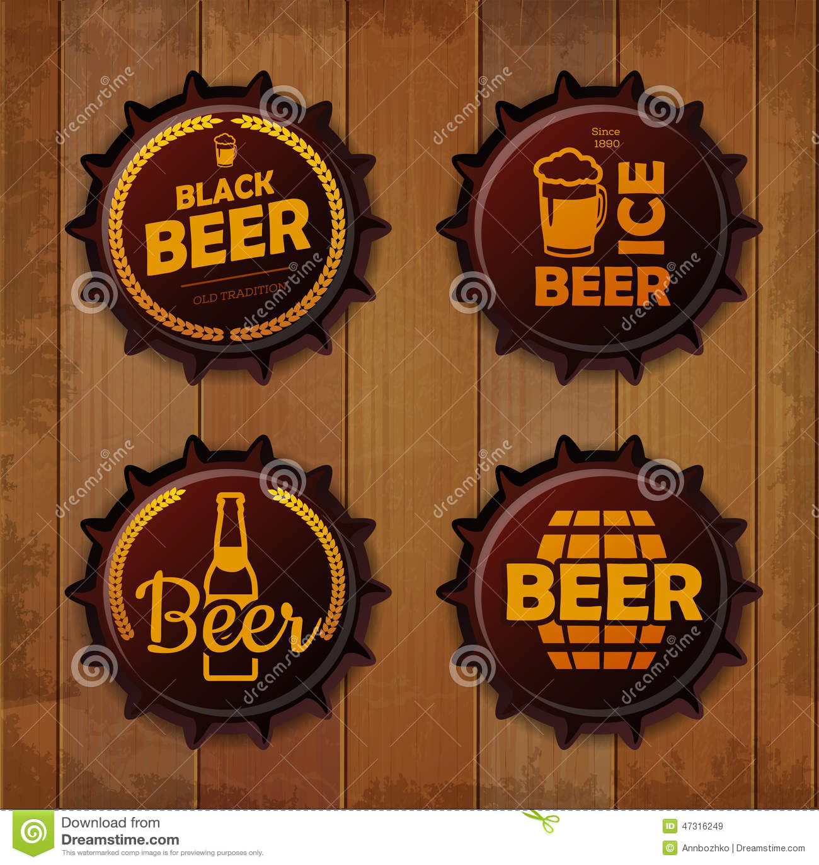 Bottle Cap Design. Beer Labels Stock Vector - Illustration of barrel ...