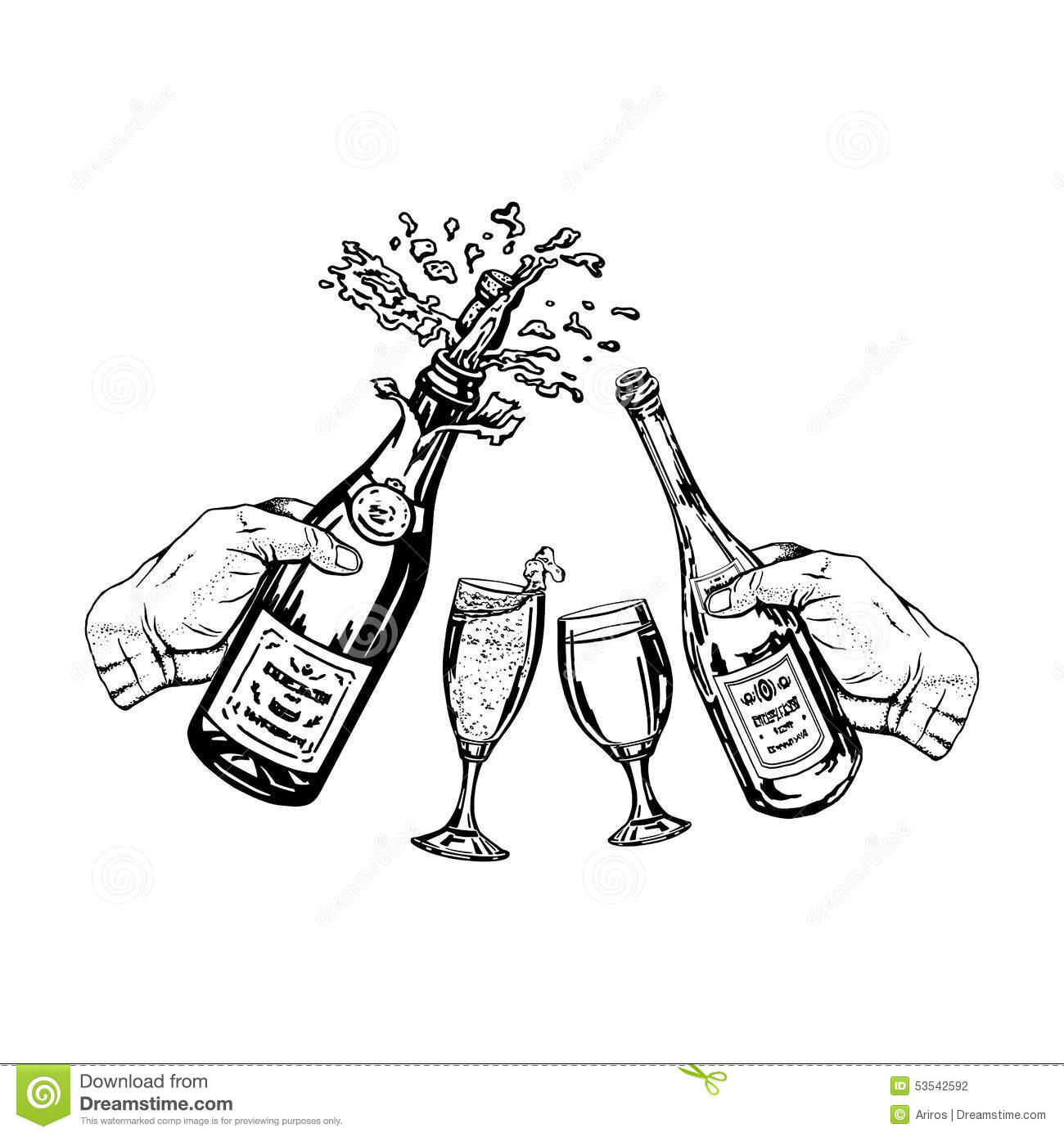 Bottle Of Champagne And Bottle Of Wine In Hand And Glasses