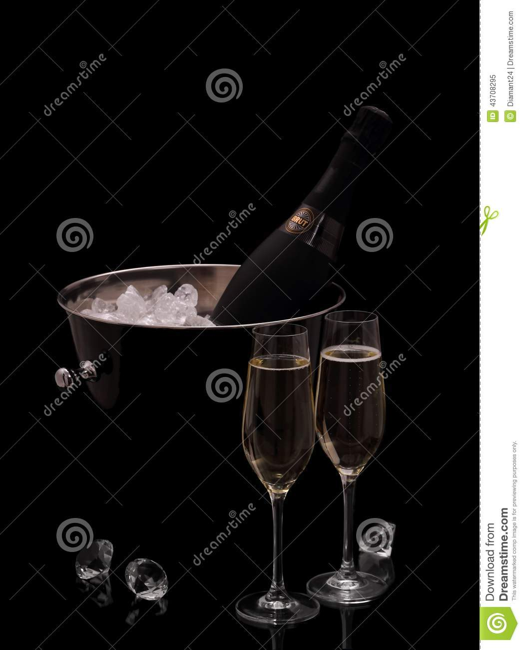 Bottle of champagne in bucket isolated with deco diamonds