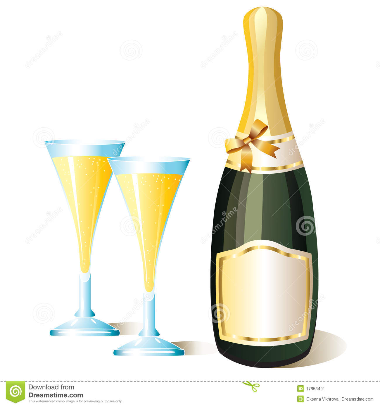 A bottle of champagne and glasses.