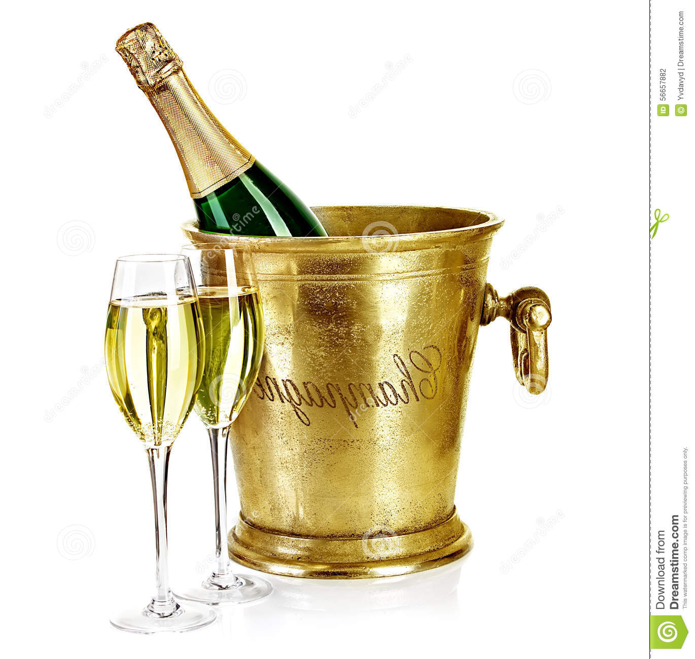 bottle of champagne in ice bucket with stemware stock photo image of bucket holiday 56657882. Black Bedroom Furniture Sets. Home Design Ideas