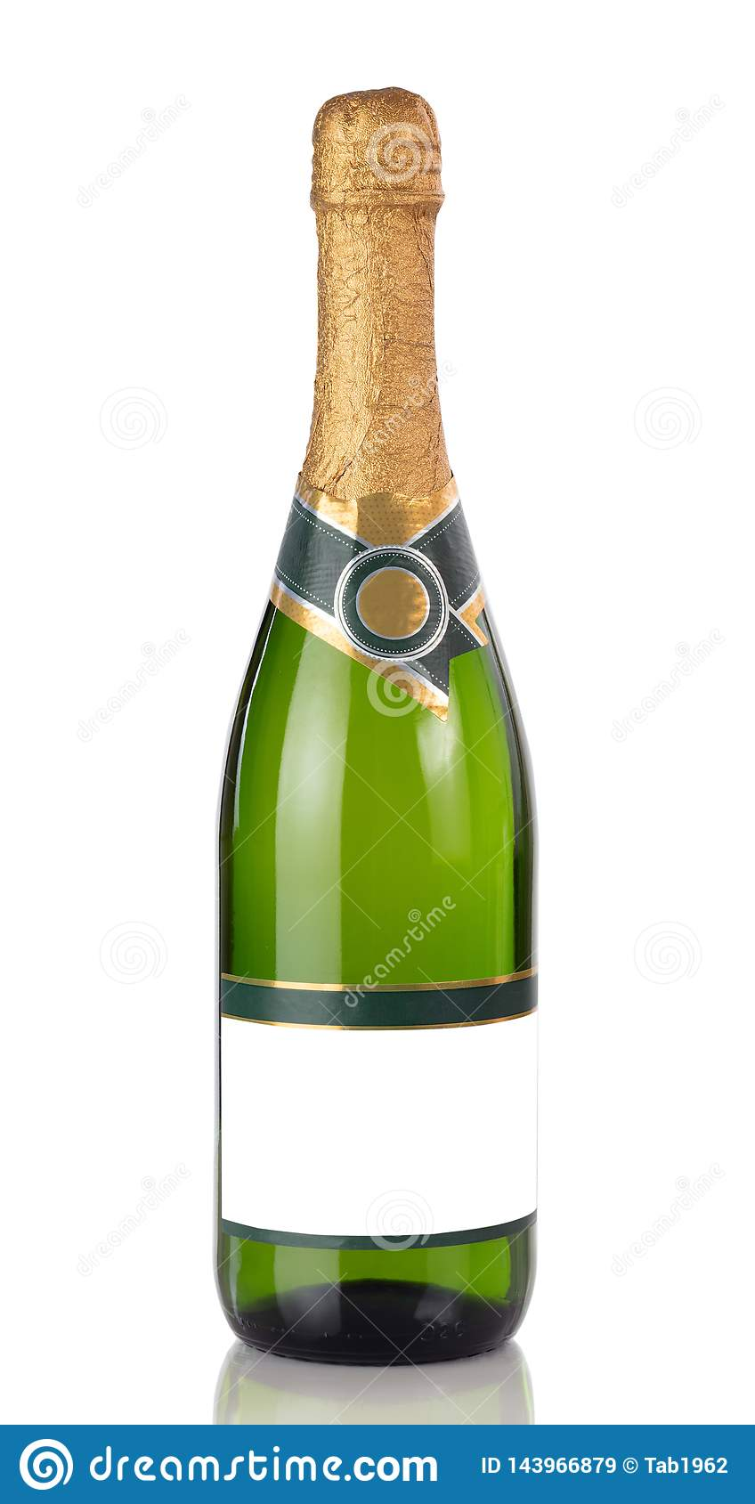 Bottle of Champagne isolated on a white background with reflection in close up view