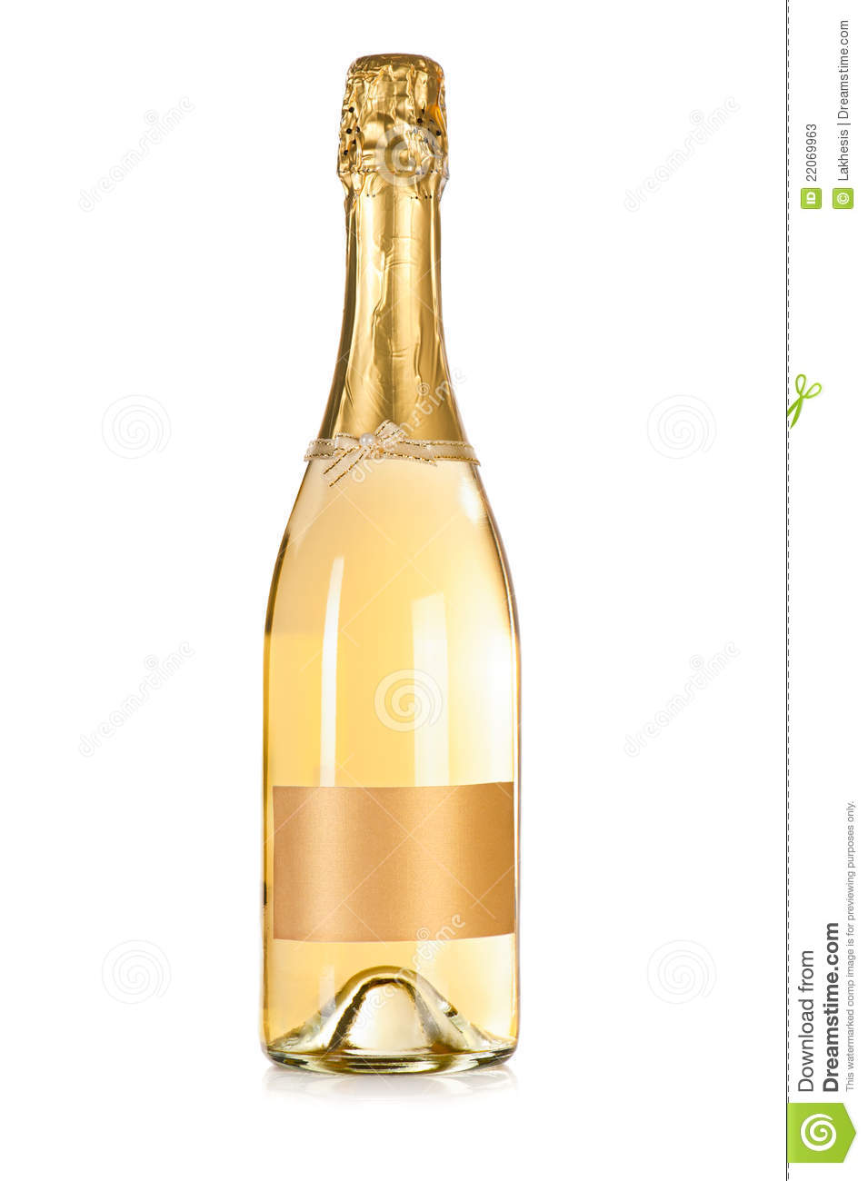 Bottle of champagne with label